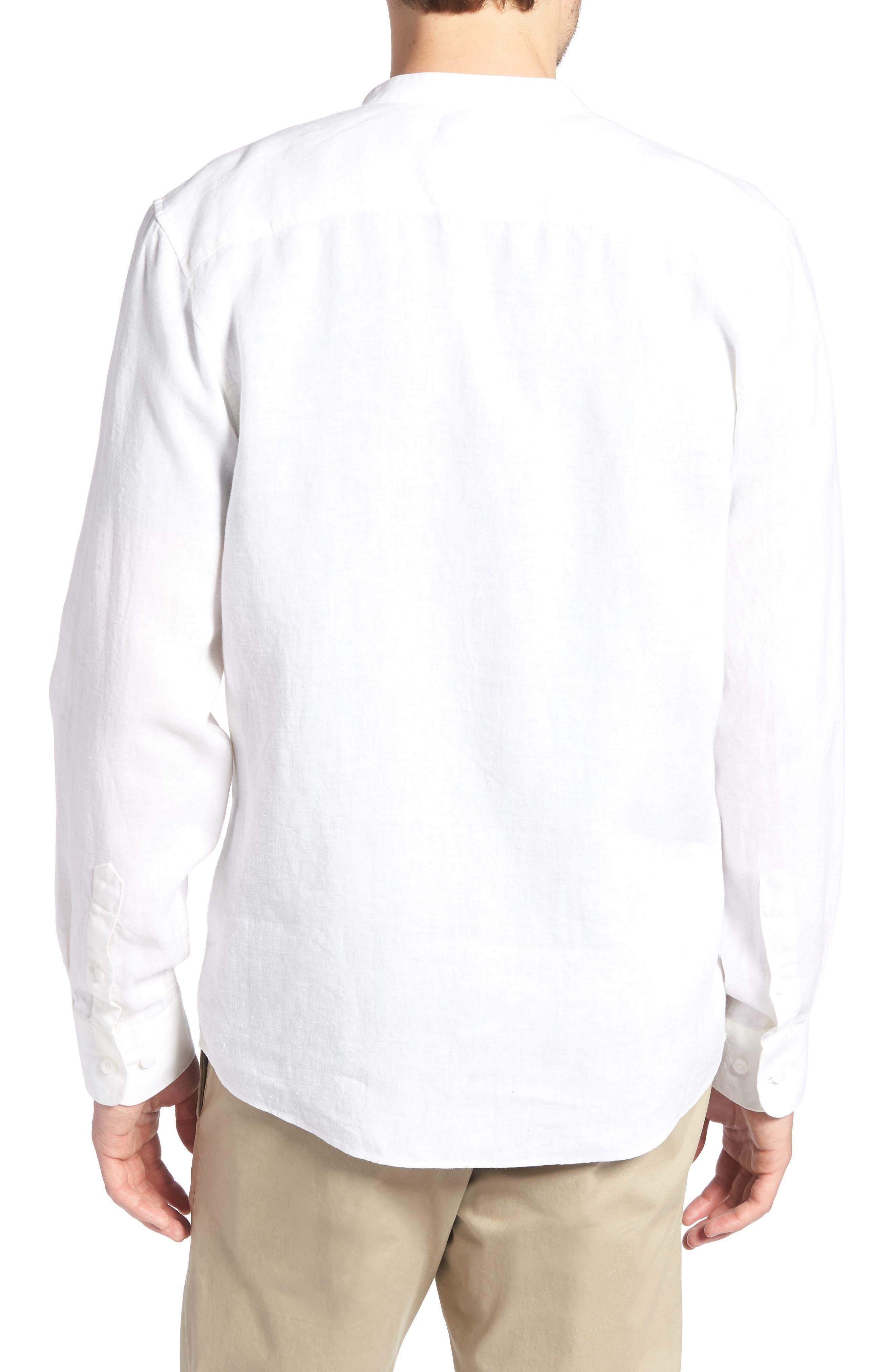 Band Collar Linen Sport Shirt,                             Alternate thumbnail 2, color,                             100