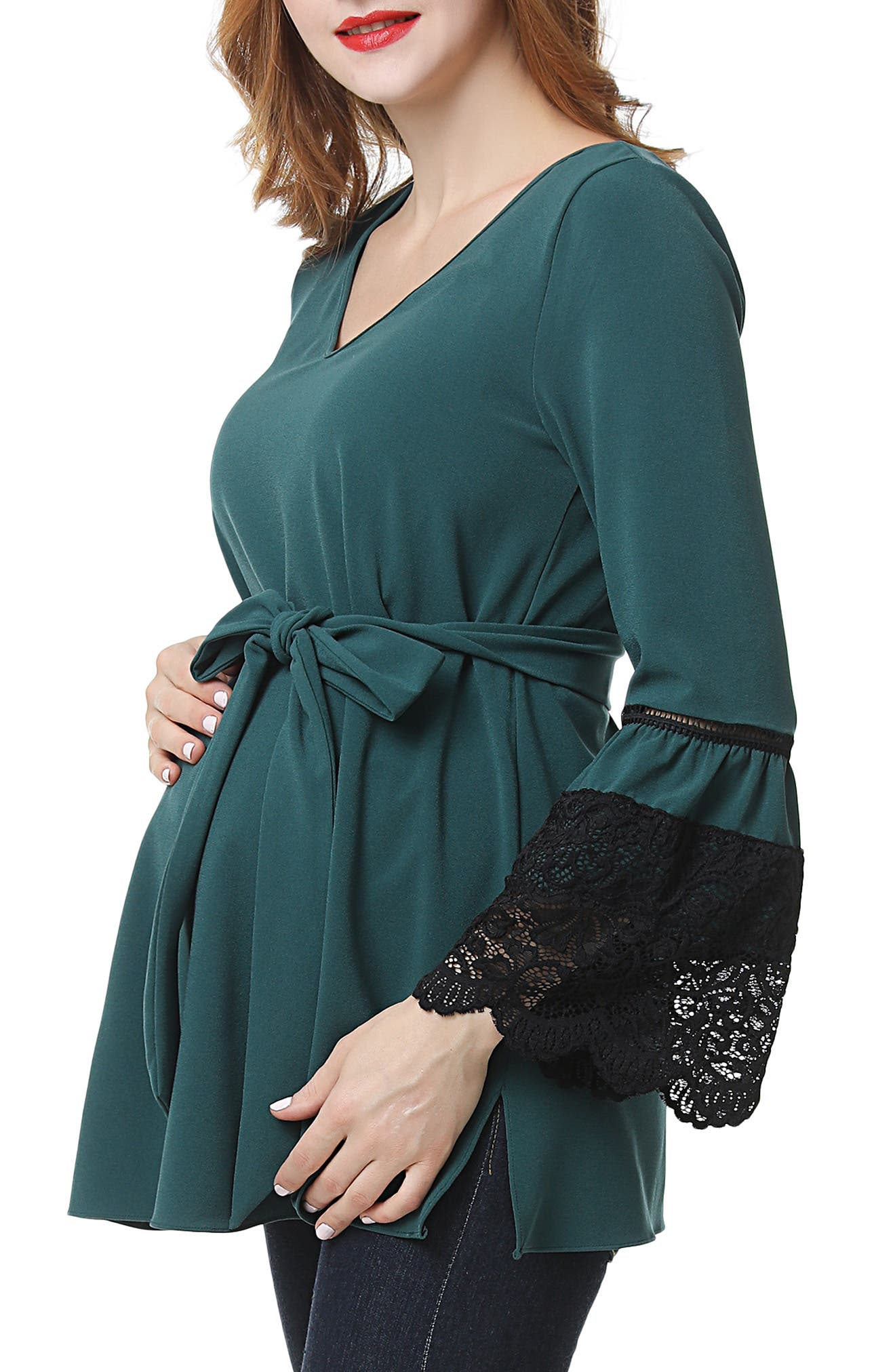 Clara Peasant Maternity Blouse,                             Alternate thumbnail 3, color,                             FOREST GREEN