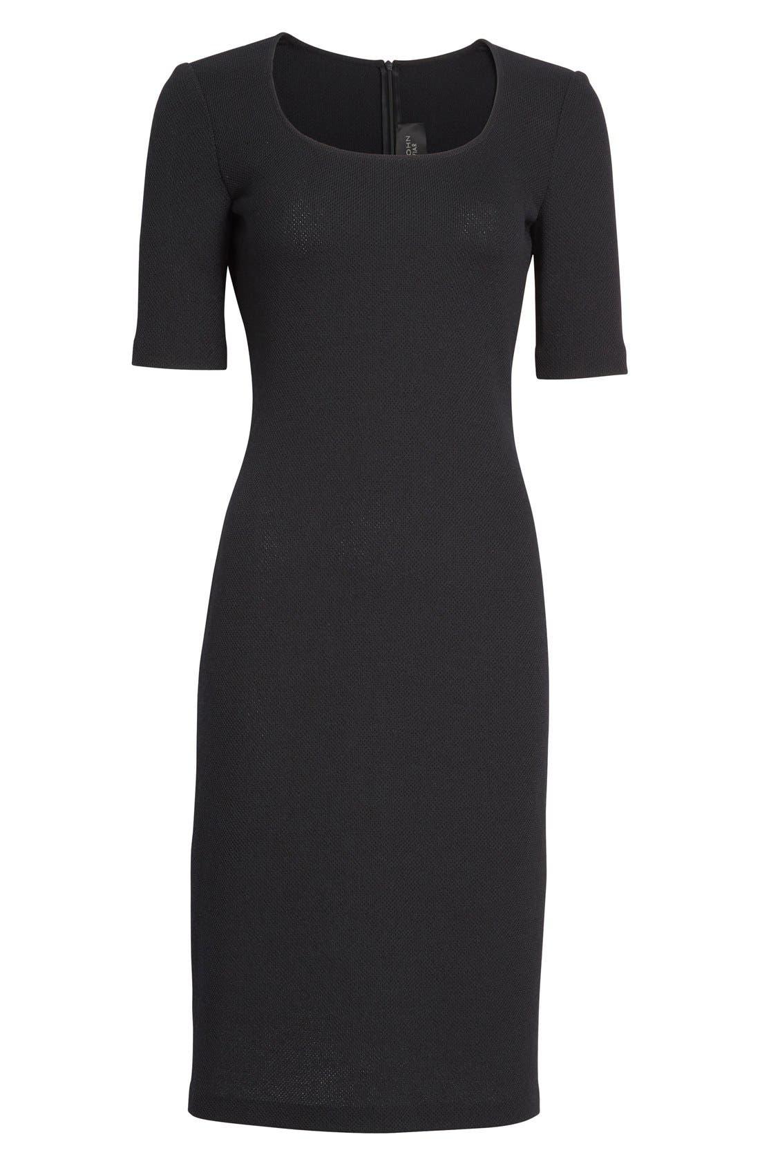 Milano Piqué Knit Scoop Neck Dress,                             Alternate thumbnail 4, color,                             001