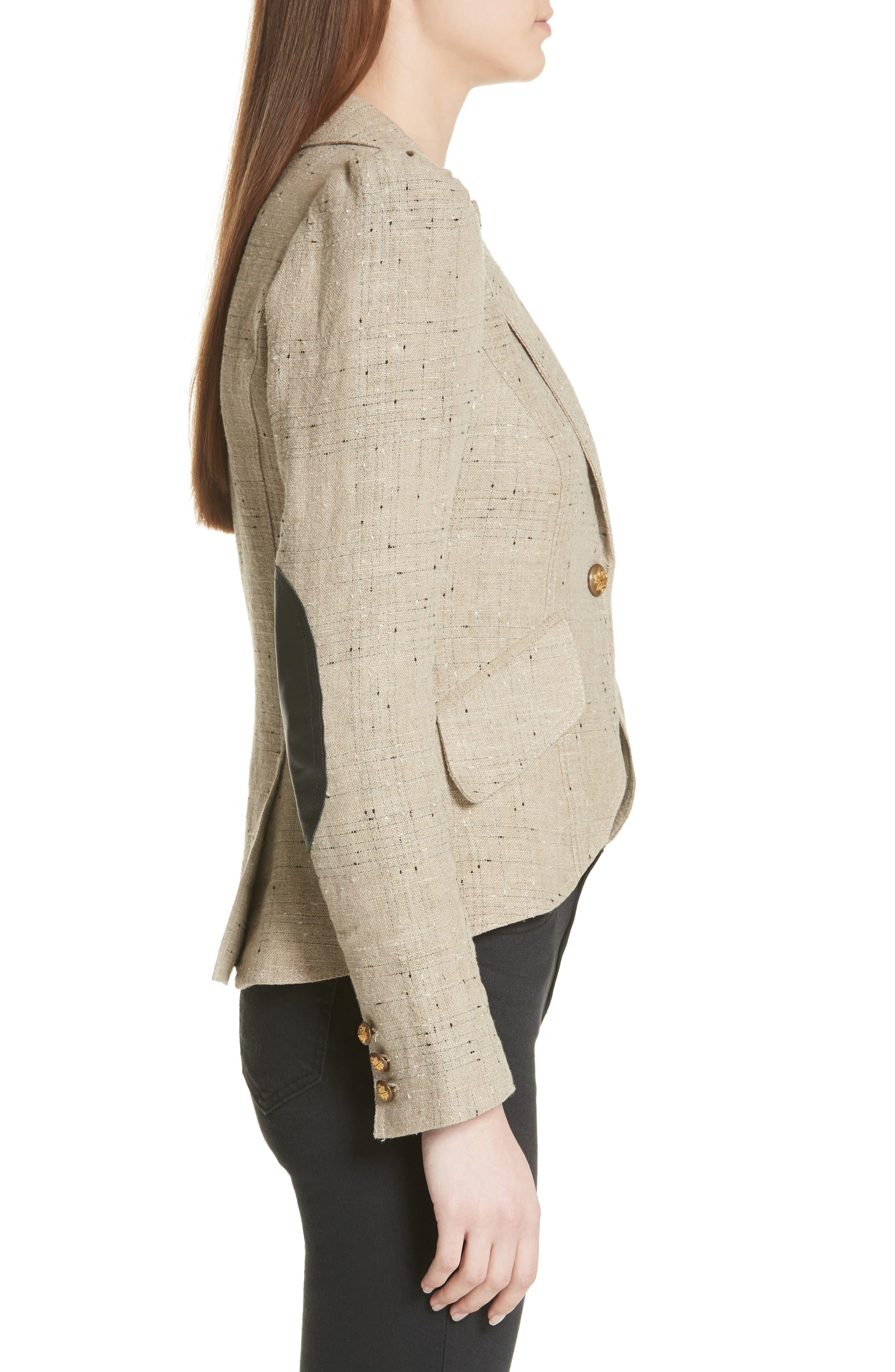 Leather Elbow Patch Linen Blend Blazer,                             Alternate thumbnail 3, color,
