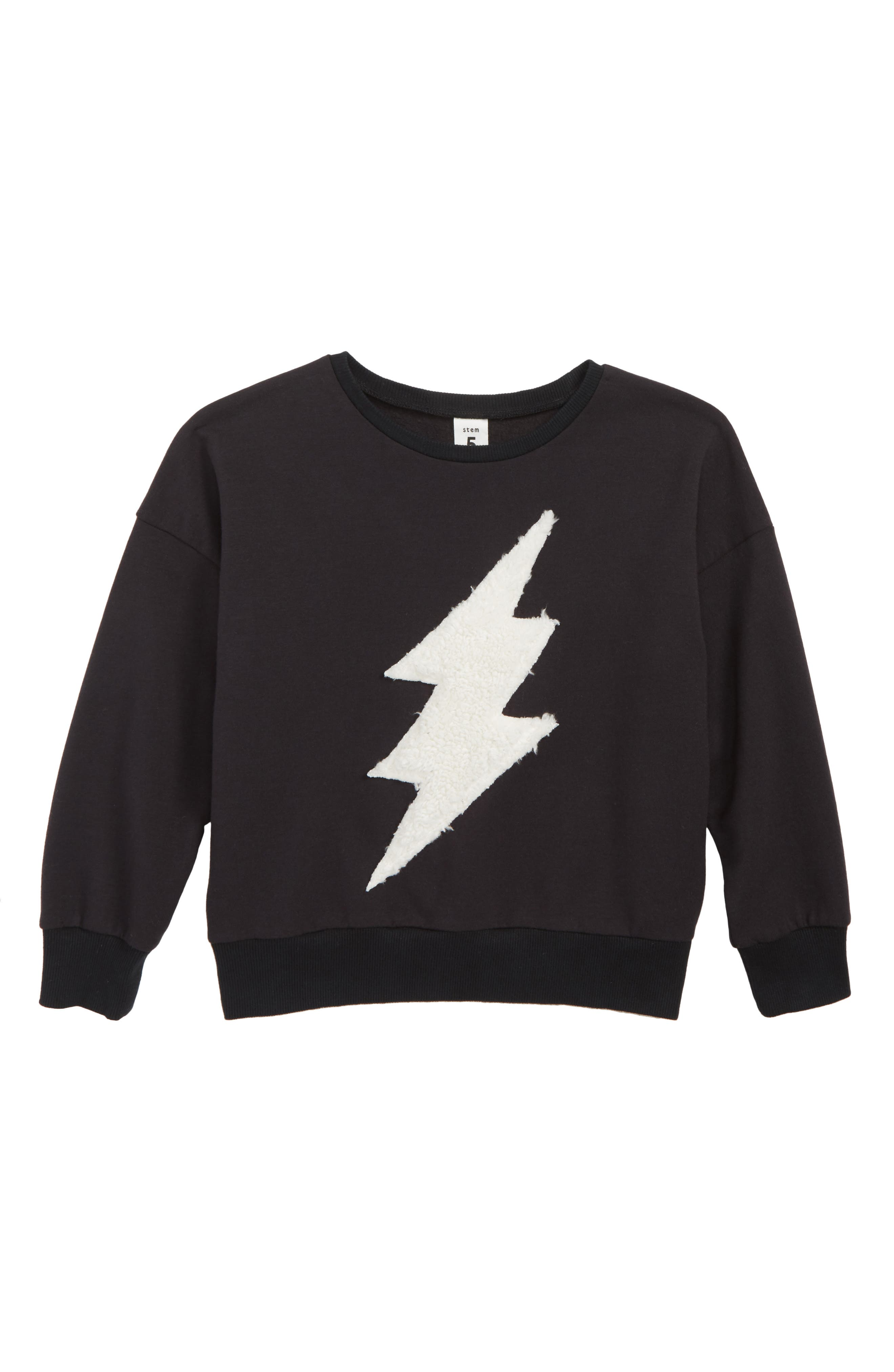 Lightning Appliqué Sweater,                             Main thumbnail 1, color,                             BLACK BOLD BOLT