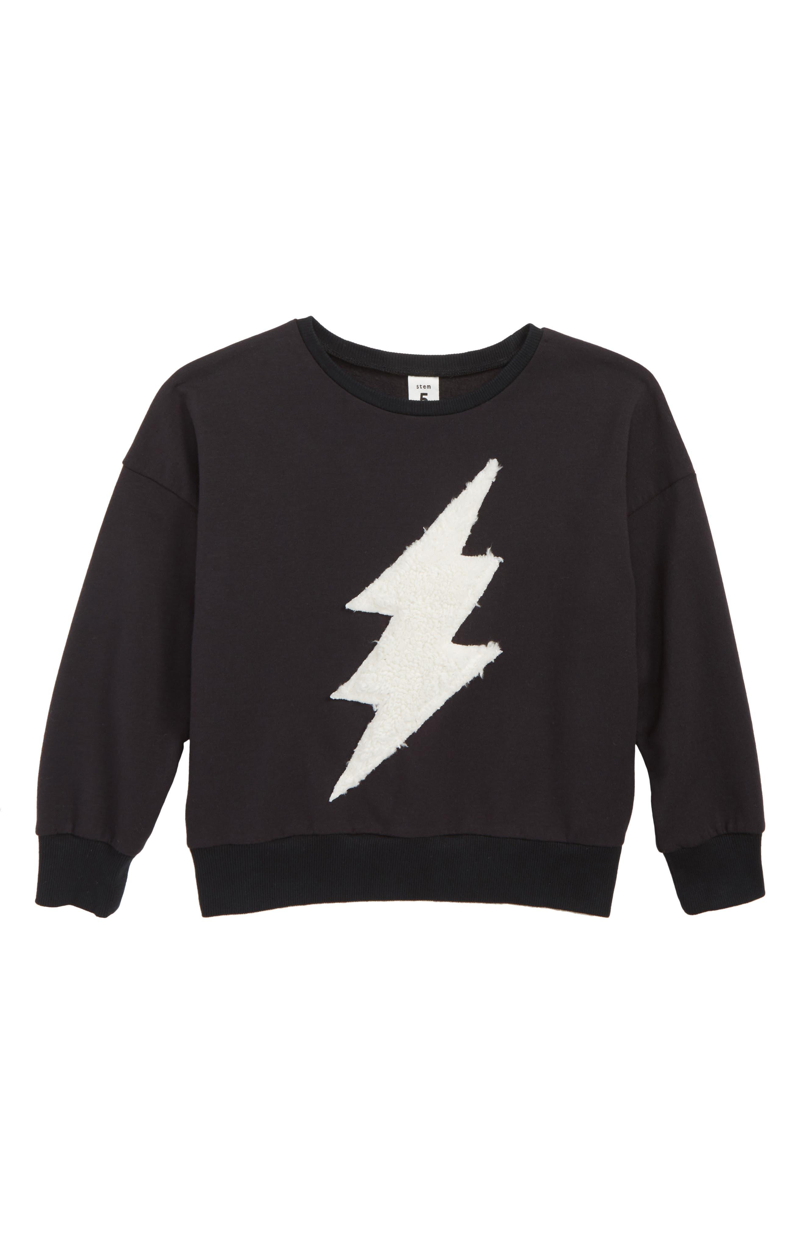 Lightning Appliqué Sweater, Main, color, BLACK BOLD BOLT