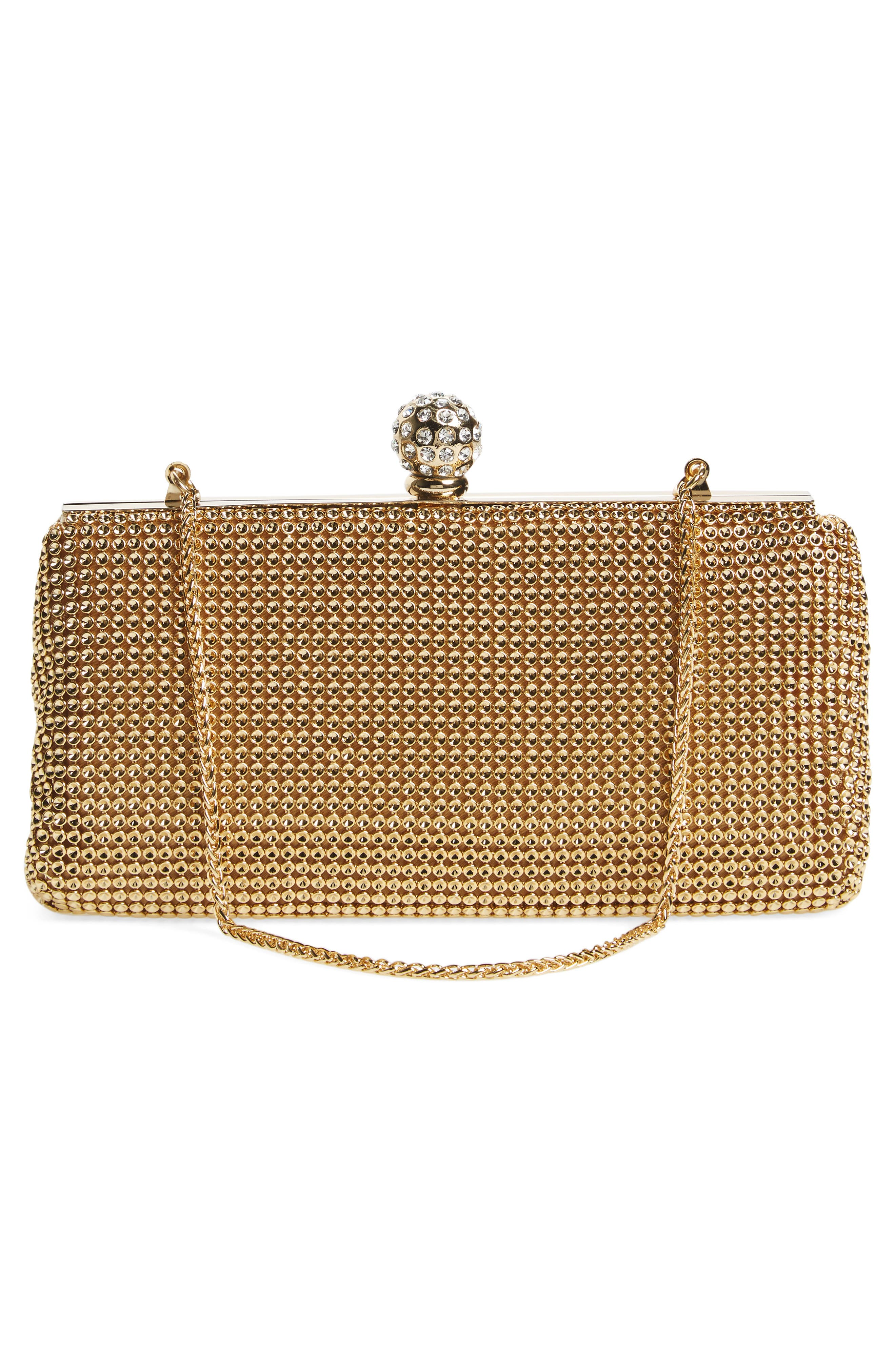 'Crystal' Mesh Clutch,                             Alternate thumbnail 3, color,                             GOLD