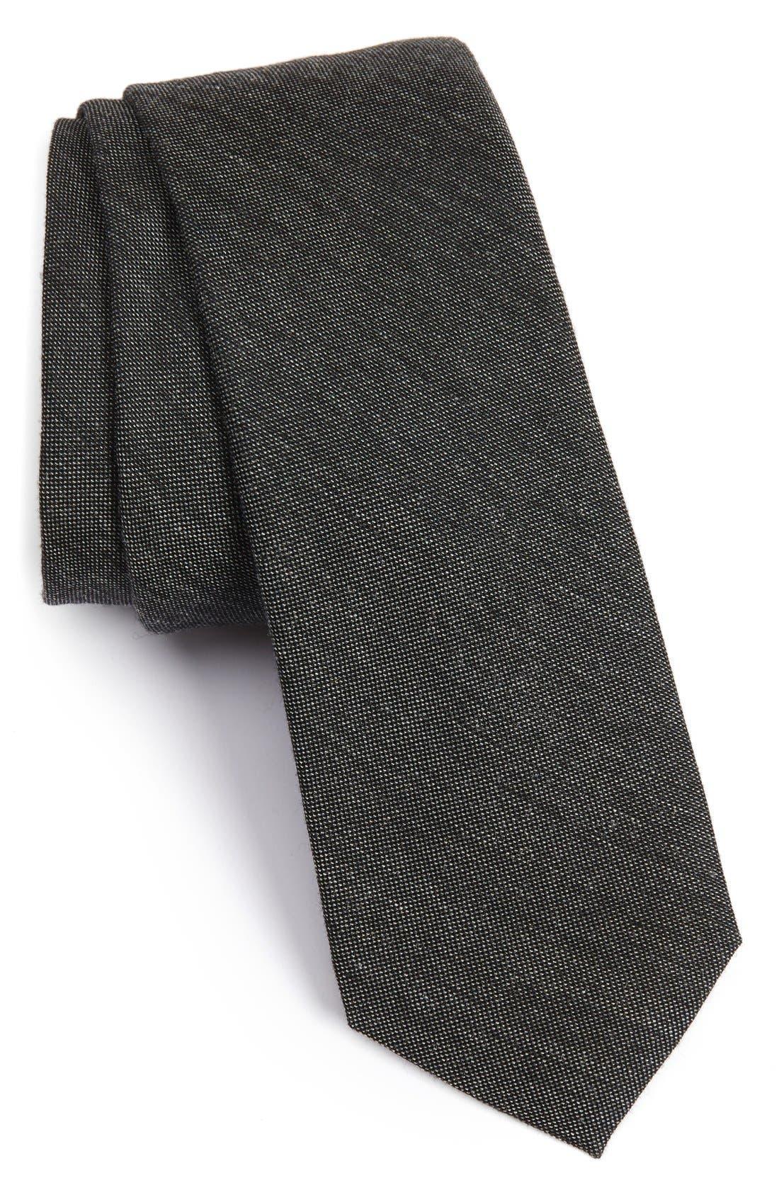 Mélange Woven Skinny Tie,                             Main thumbnail 1, color,                             015