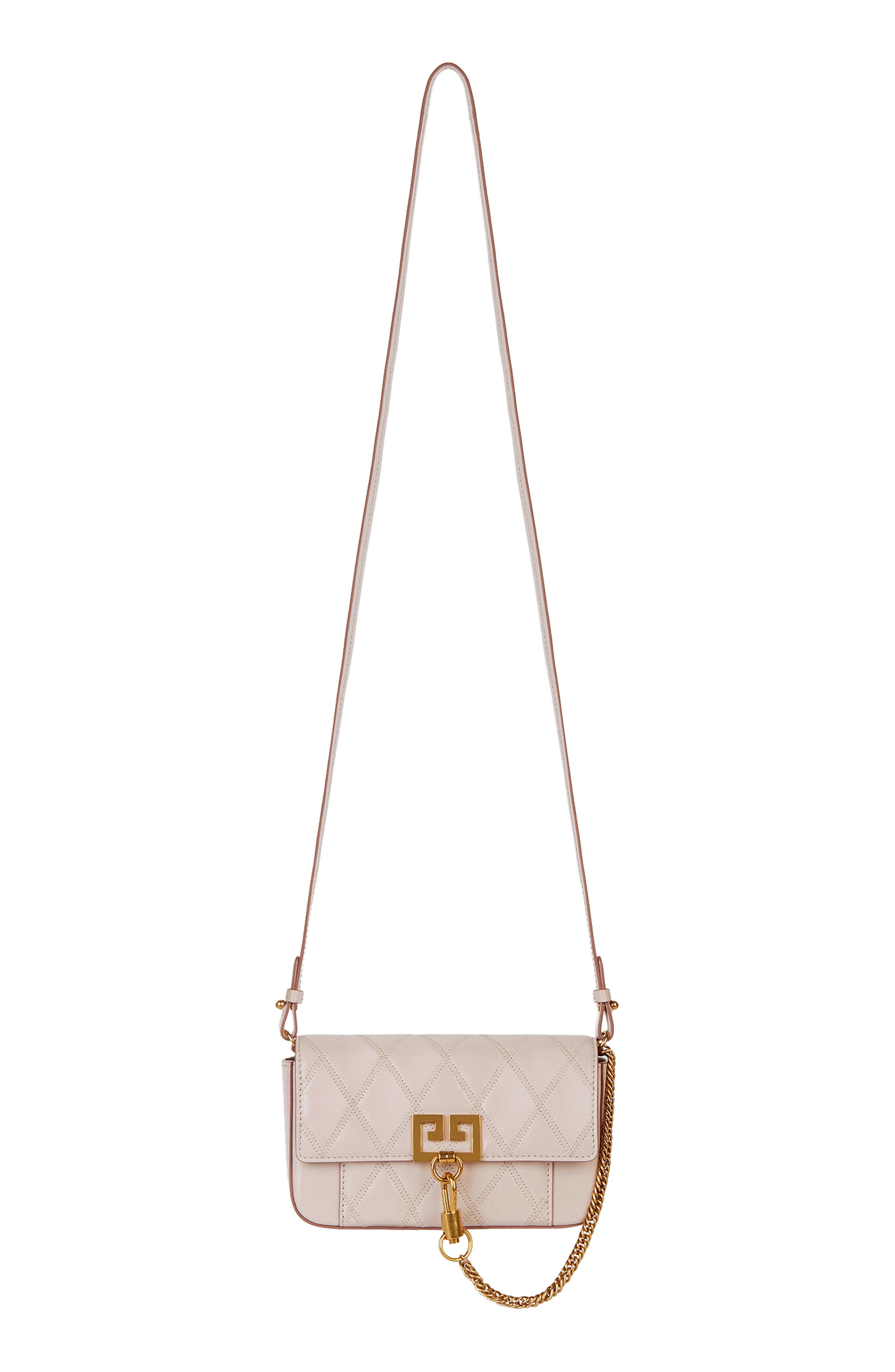 GIVENCHY,                             Mini Pocket Quilted Convertible Leather Bag,                             Main thumbnail 1, color,                             PALE PINK