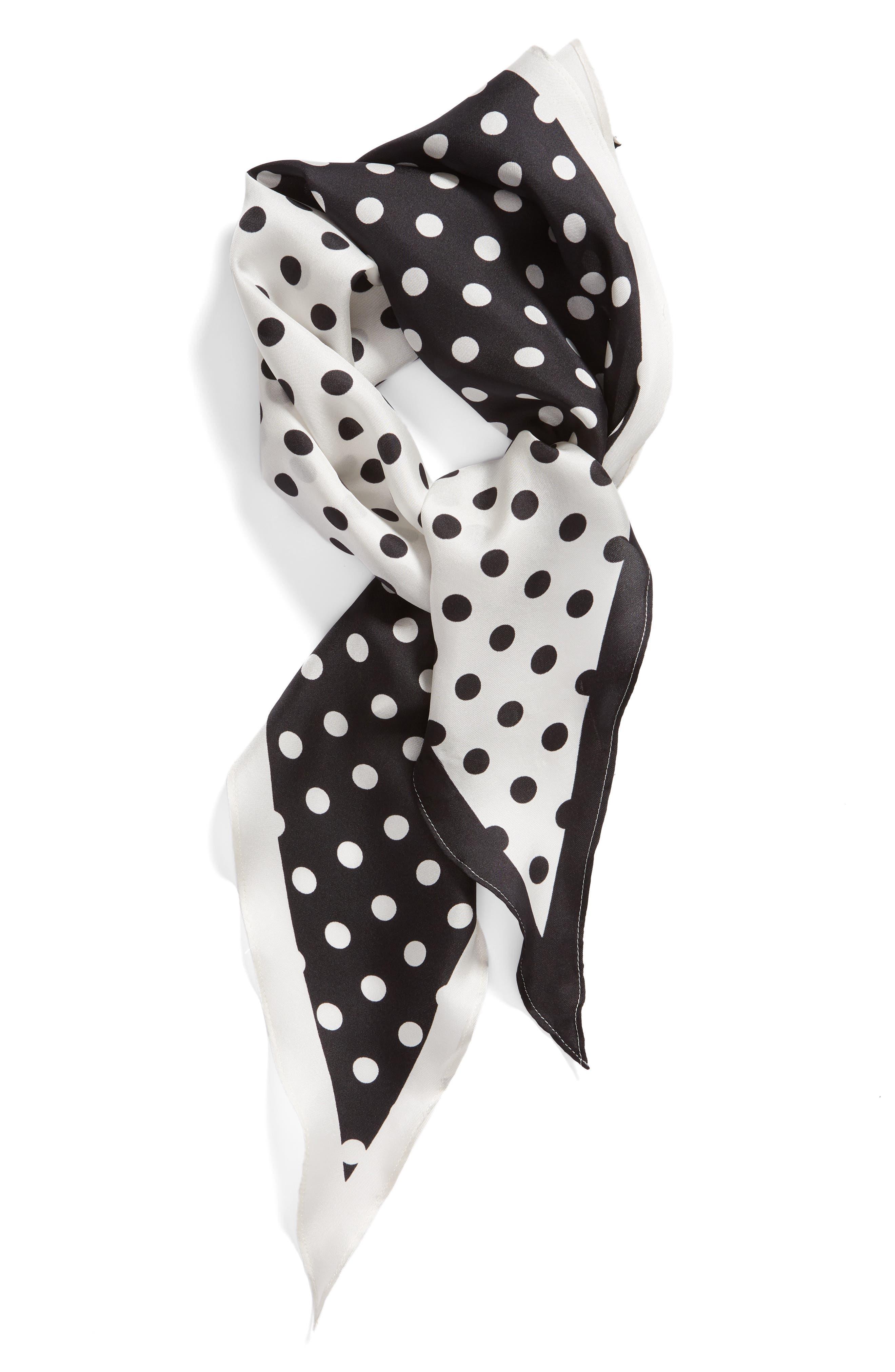 KATE SPADE NEW YORK lia dot silk scarf, Alternate, color, BLACK