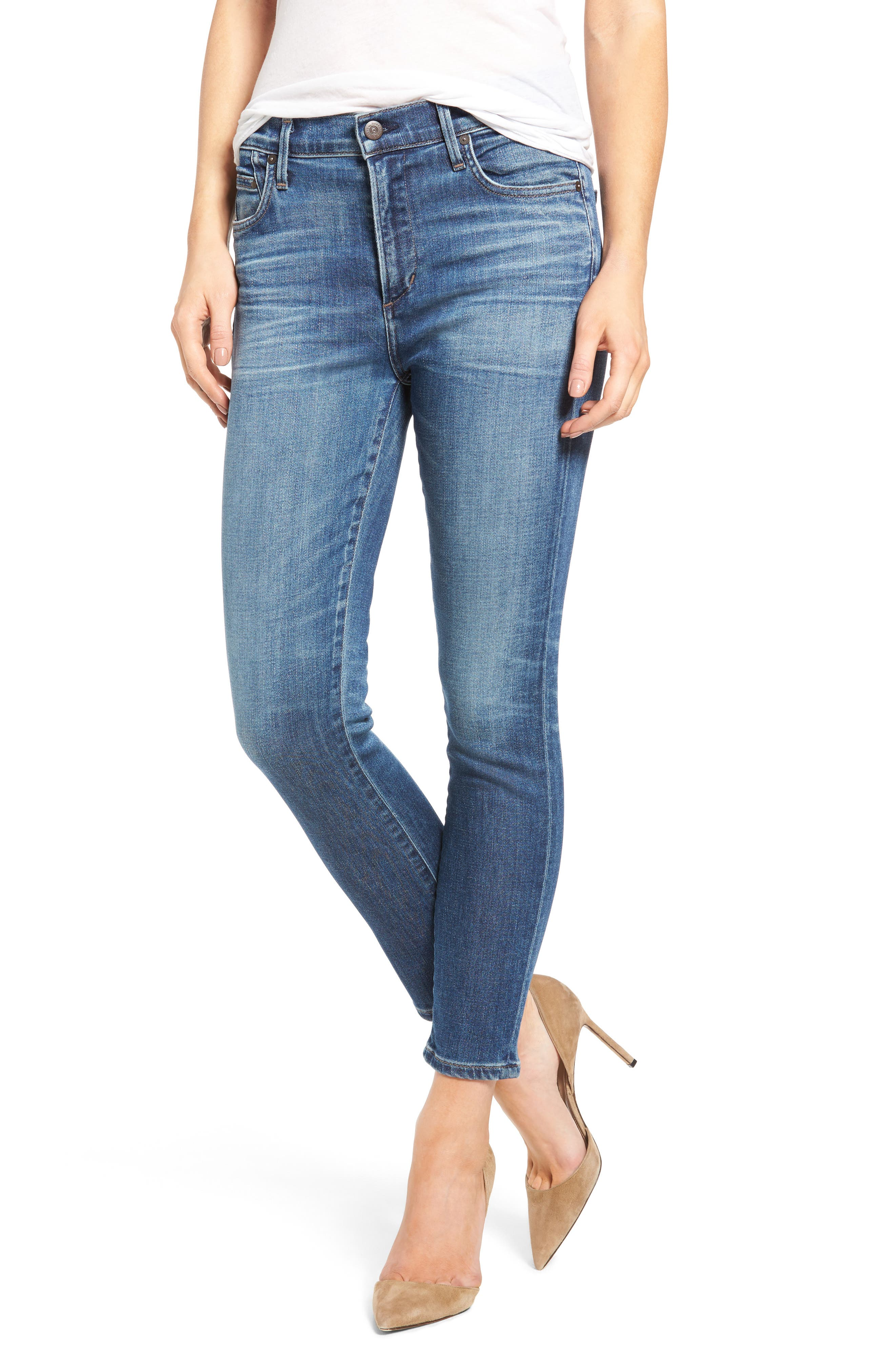 Rocket High Waist Crop Skinny Jeans,                             Main thumbnail 1, color,                             409