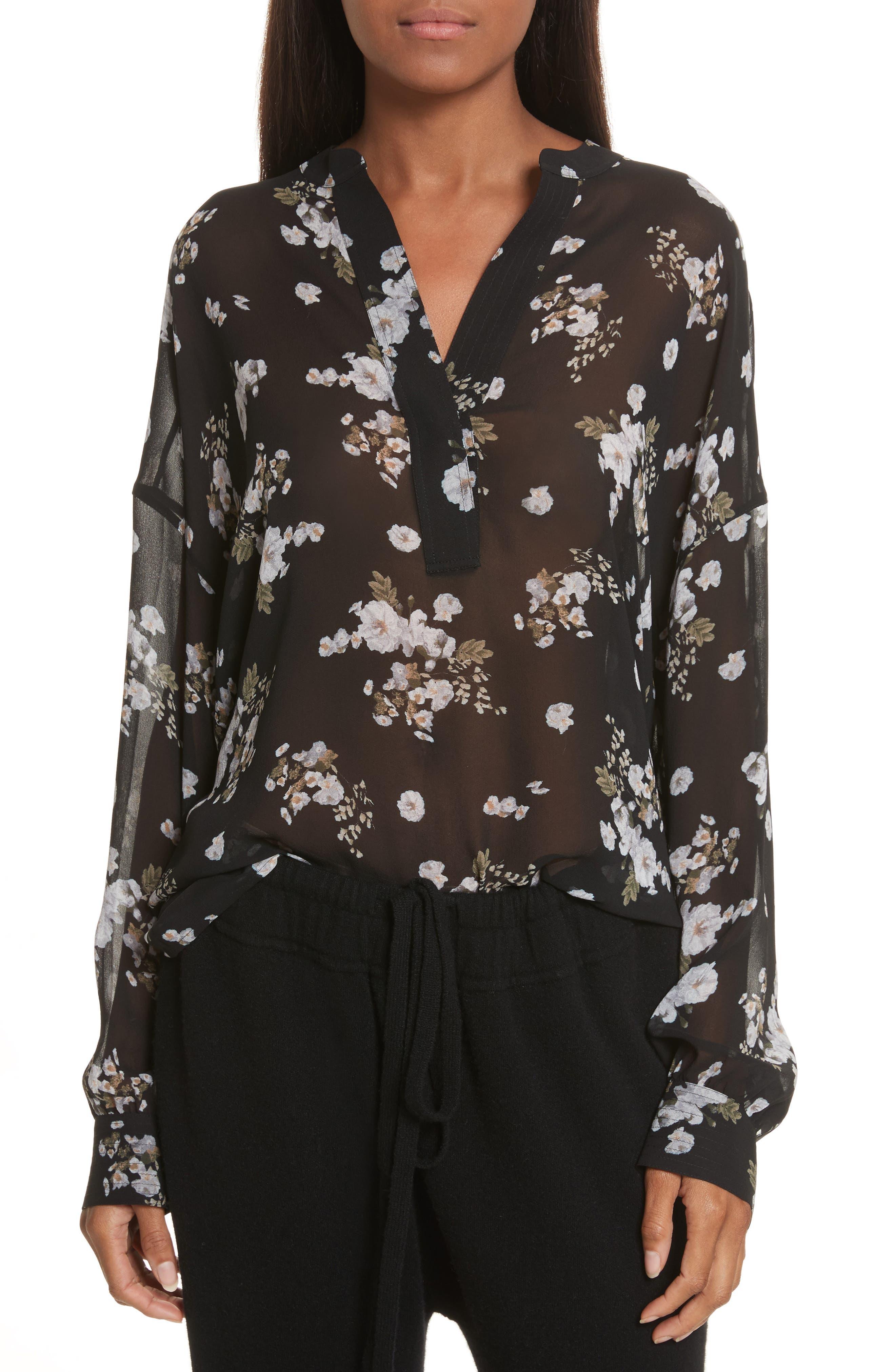 Shirred Floral Silk Blouse,                             Main thumbnail 1, color,                             001