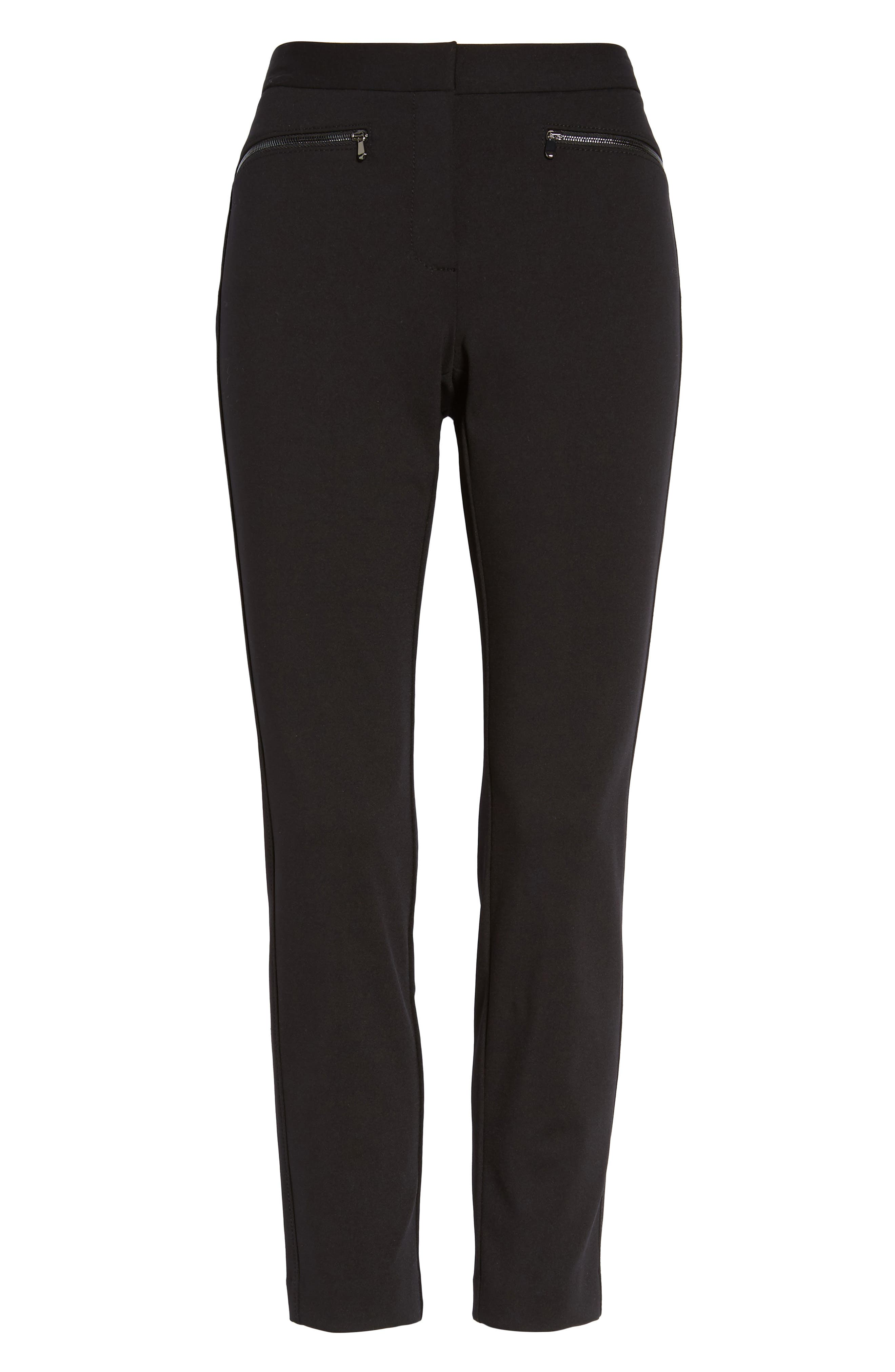 Exposed Zip Knit Pants,                             Alternate thumbnail 6, color,                             001