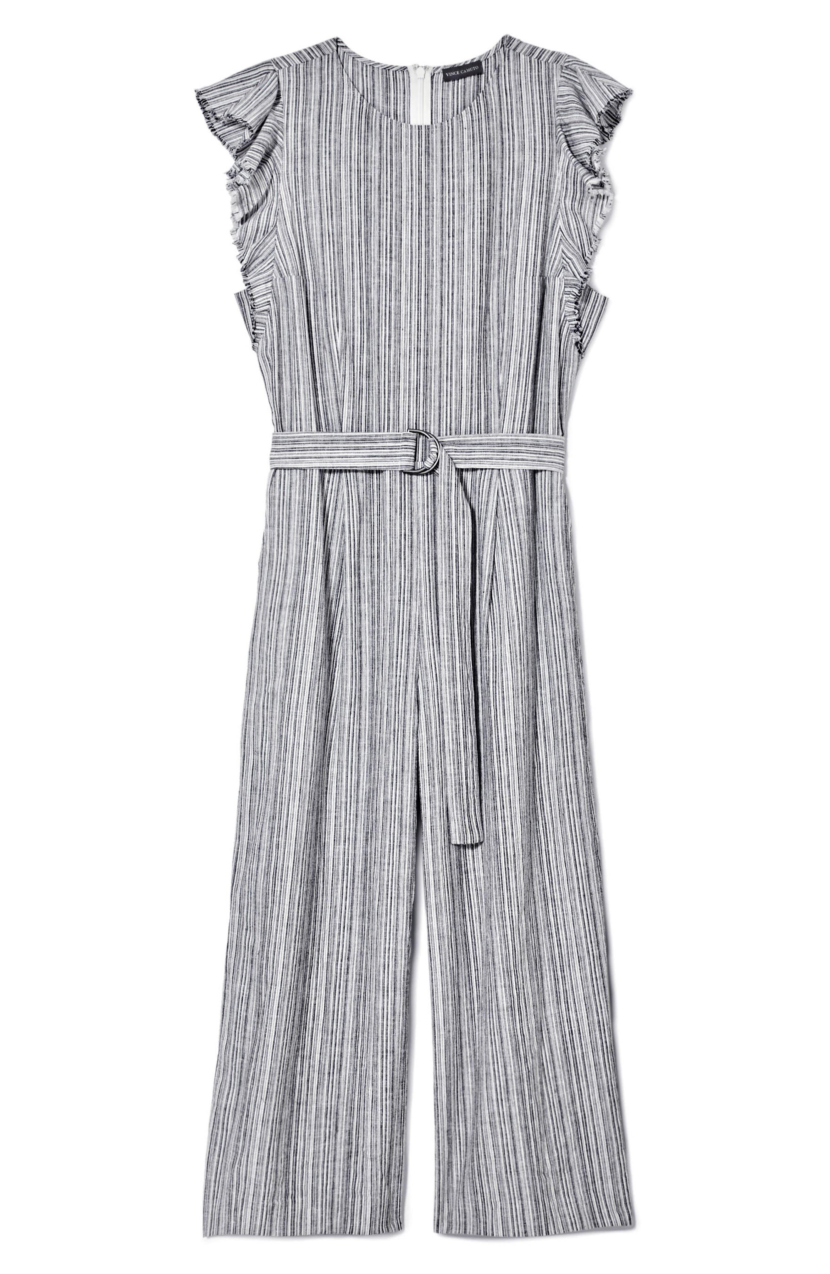 Stripe Ruffle Sleeve Jumpsuit,                             Alternate thumbnail 3, color,                             006