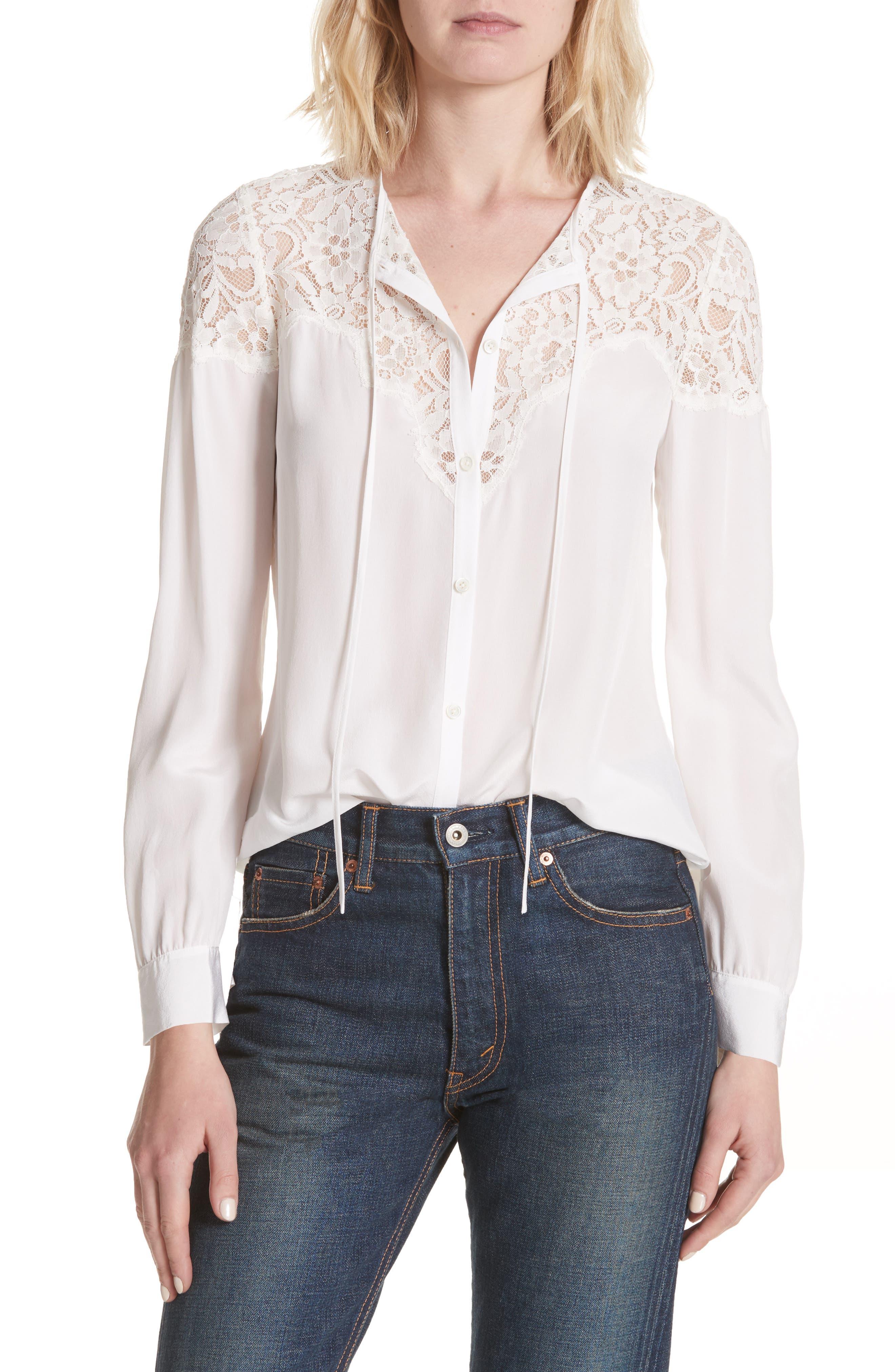 Lace & Silk Blouse,                         Main,                         color, 115