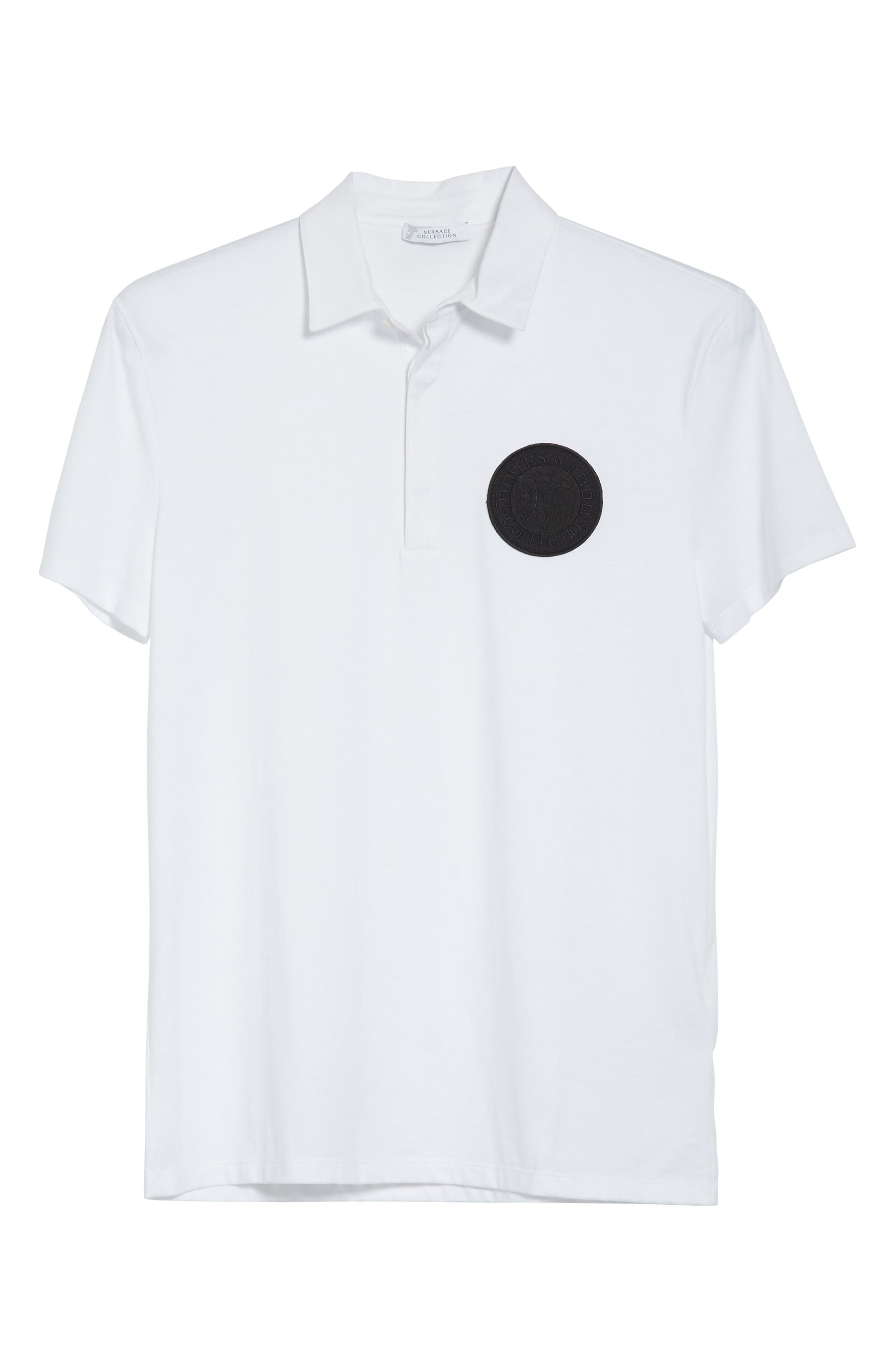 VERSACE COLLECTION,                             Logo Patch Jersey Polo,                             Alternate thumbnail 6, color,                             WHITE