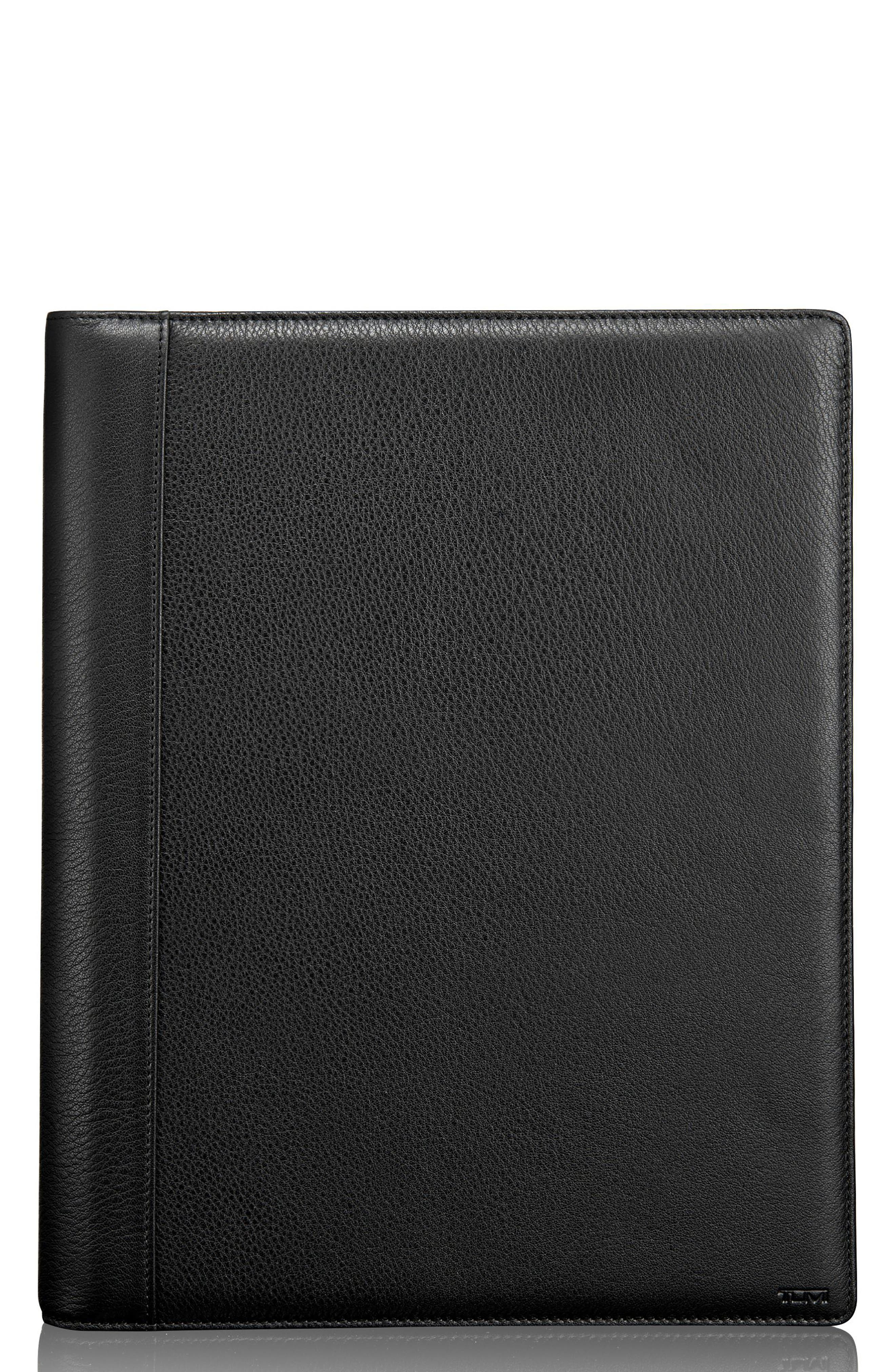 TUMI Leather Letter Pad, Main, color, BLACK TEXTURED