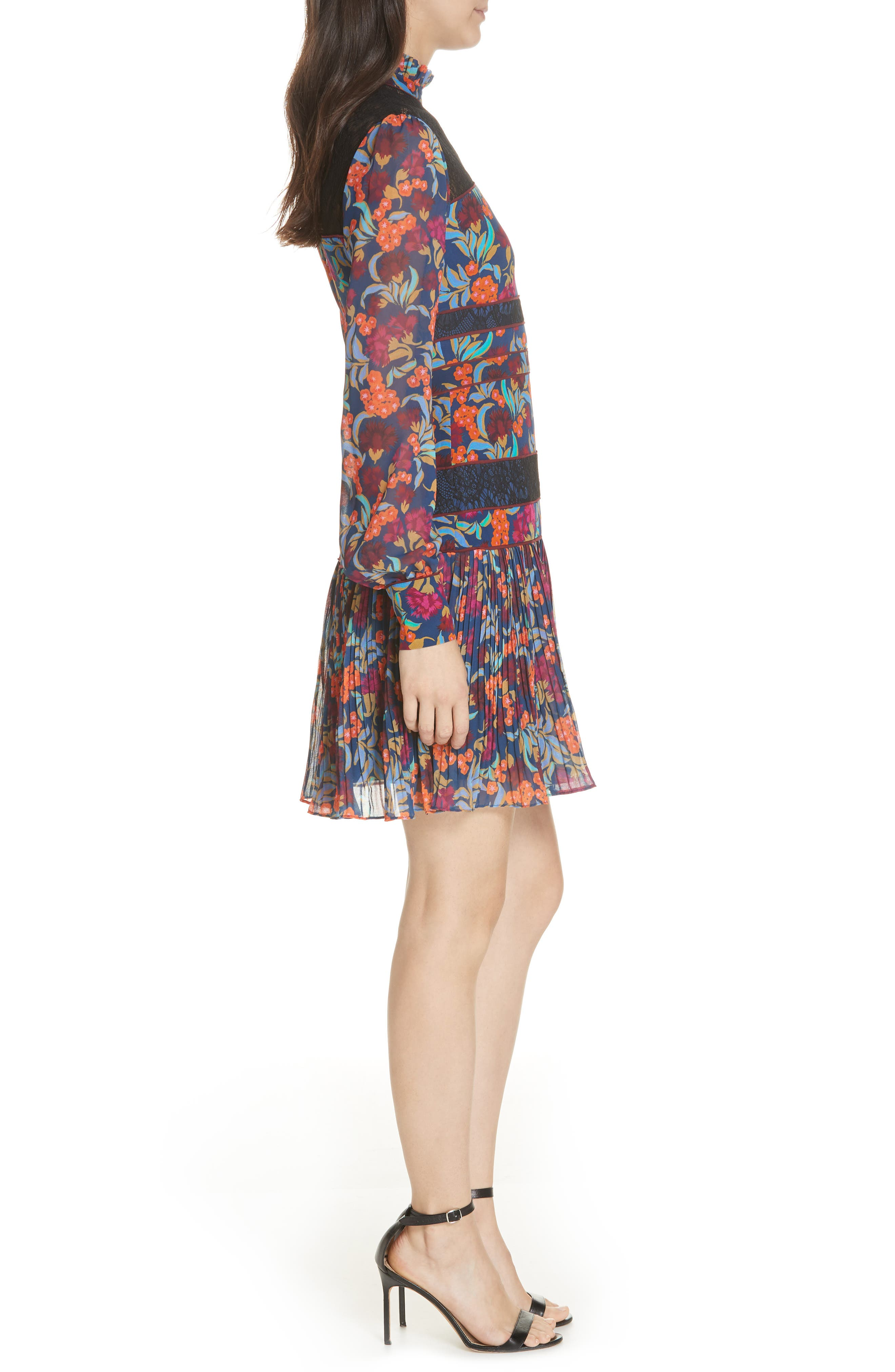 Dina Lace Inset Floral Print Dress,                             Alternate thumbnail 3, color,                             TROPICAL HYDRANGEA