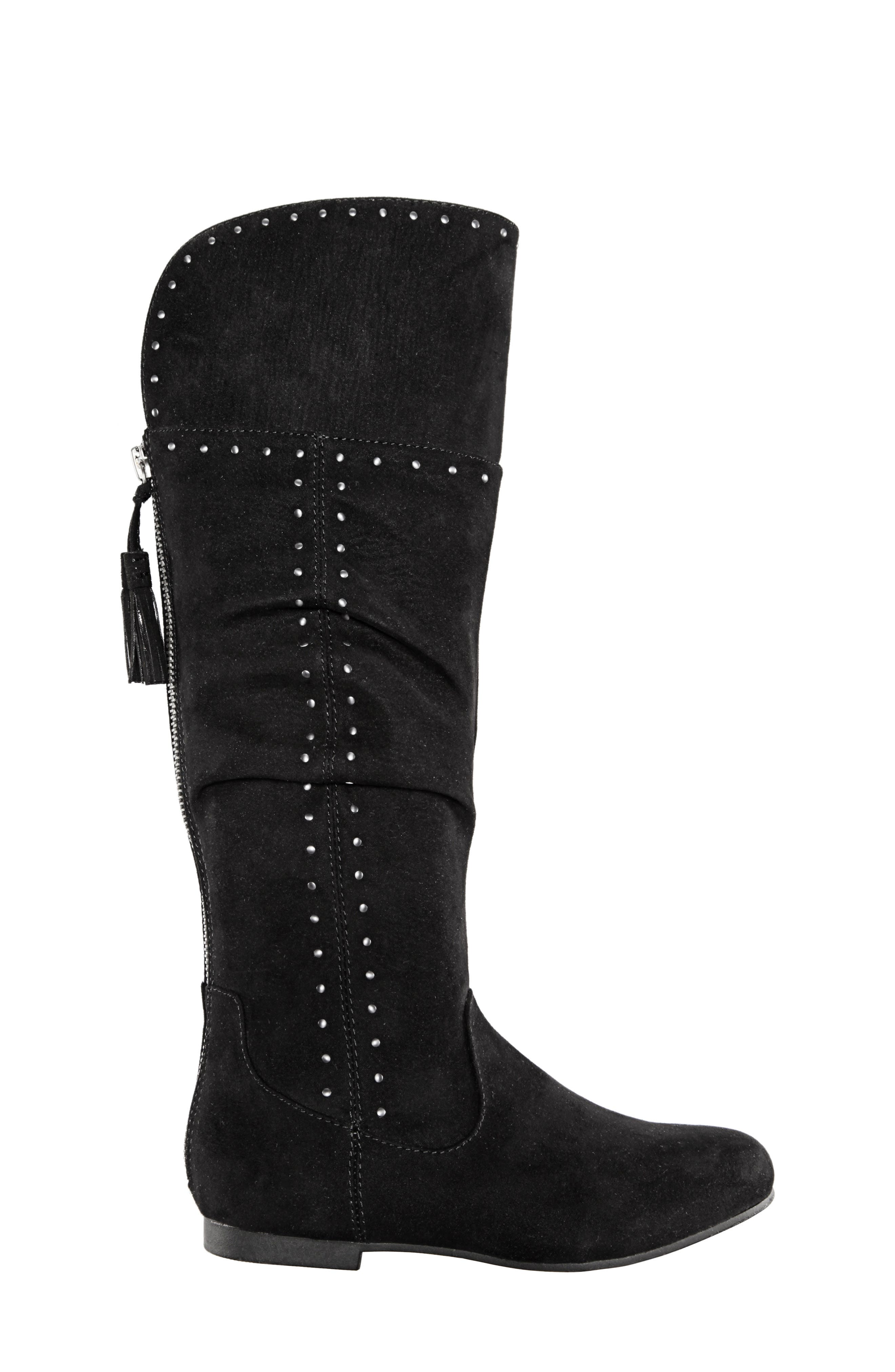 Gem Slouchy Studded Boot,                             Alternate thumbnail 3, color,                             BLACK MICRO SUEDE