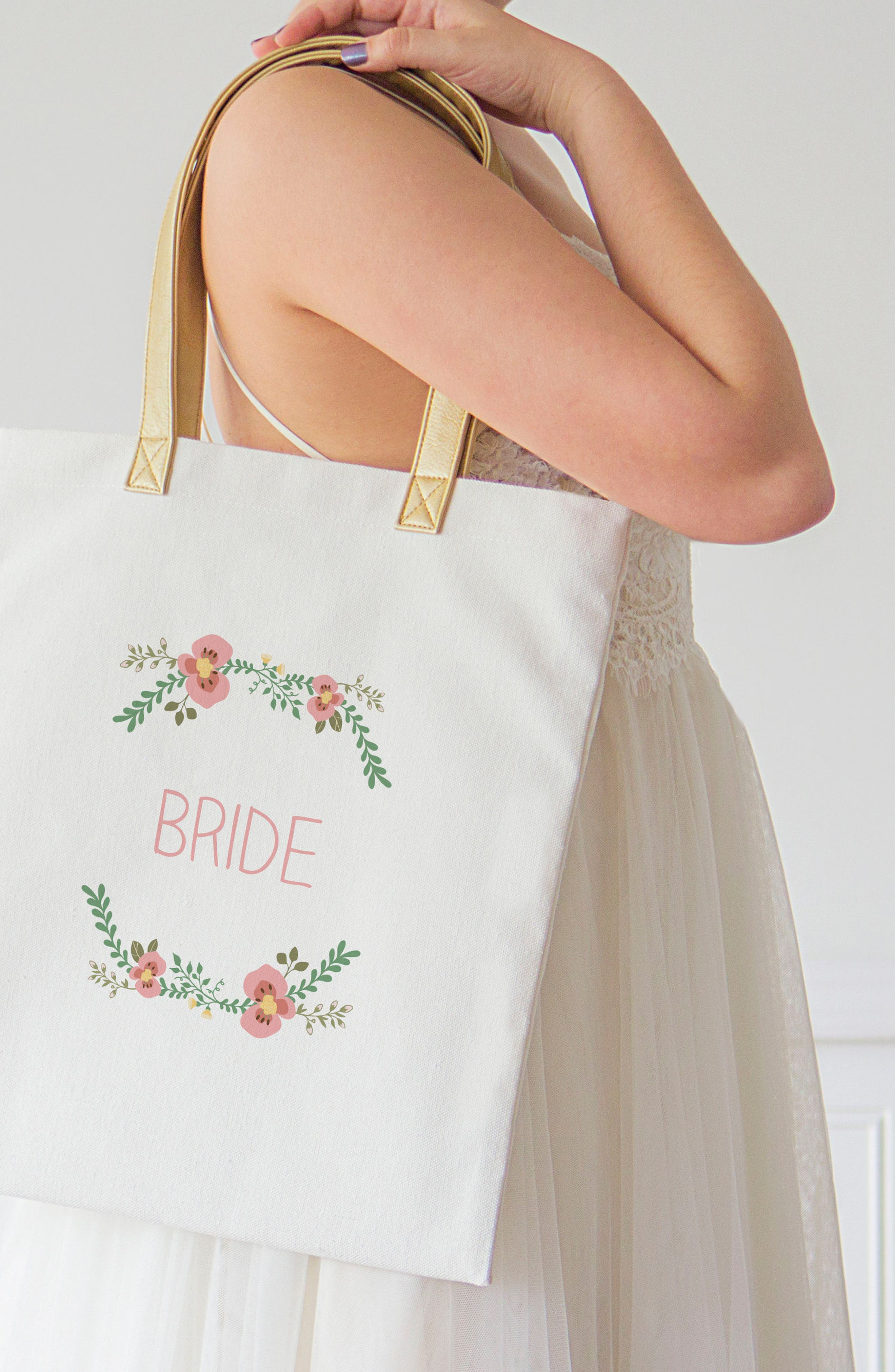 Bridesmaid Canvas Tote,                             Alternate thumbnail 3, color,                             100