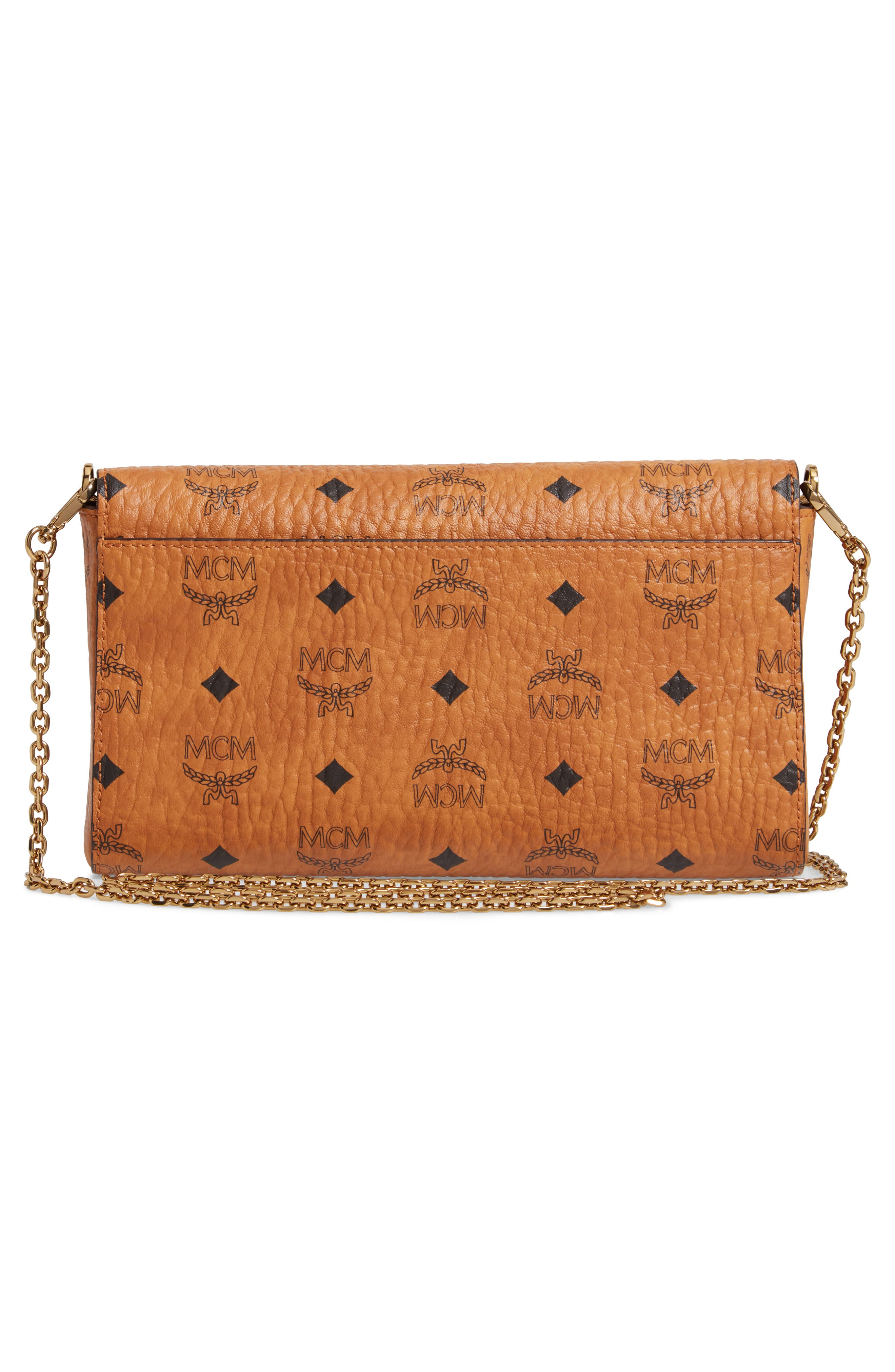 Millie Monogrammed Leather Crossbody Bag,                             Alternate thumbnail 3, color,                             COGNAC BROWN