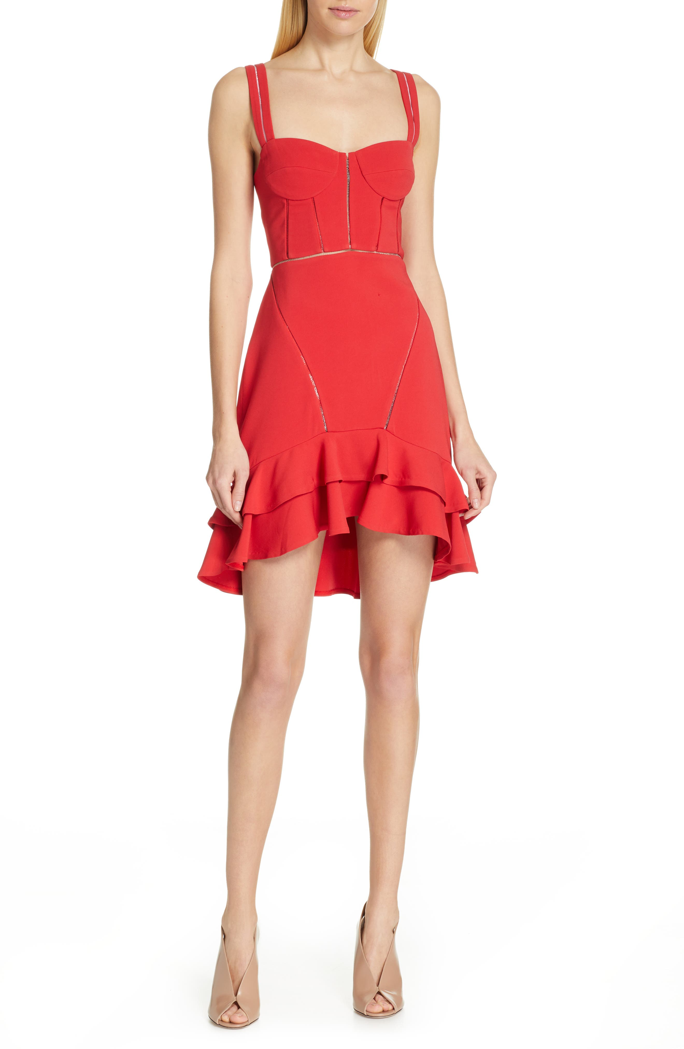 Crepe Combo Mini Ruffle A-Line Corset Dress in Fire Red