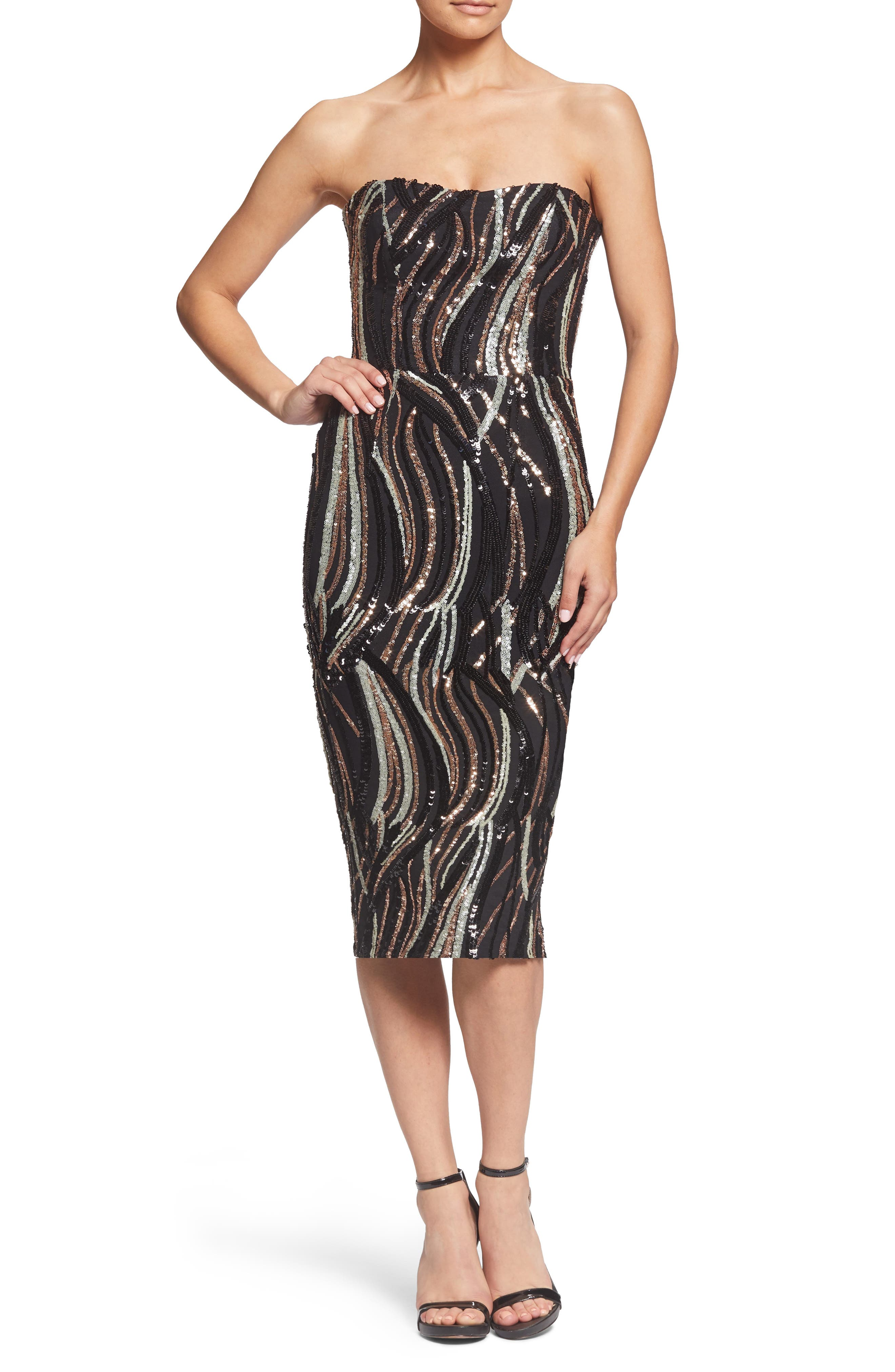 Claire Swirl Stripe Strapless Body-Con Dress,                             Main thumbnail 1, color,                             BLACK/ BRONZE/ BONE