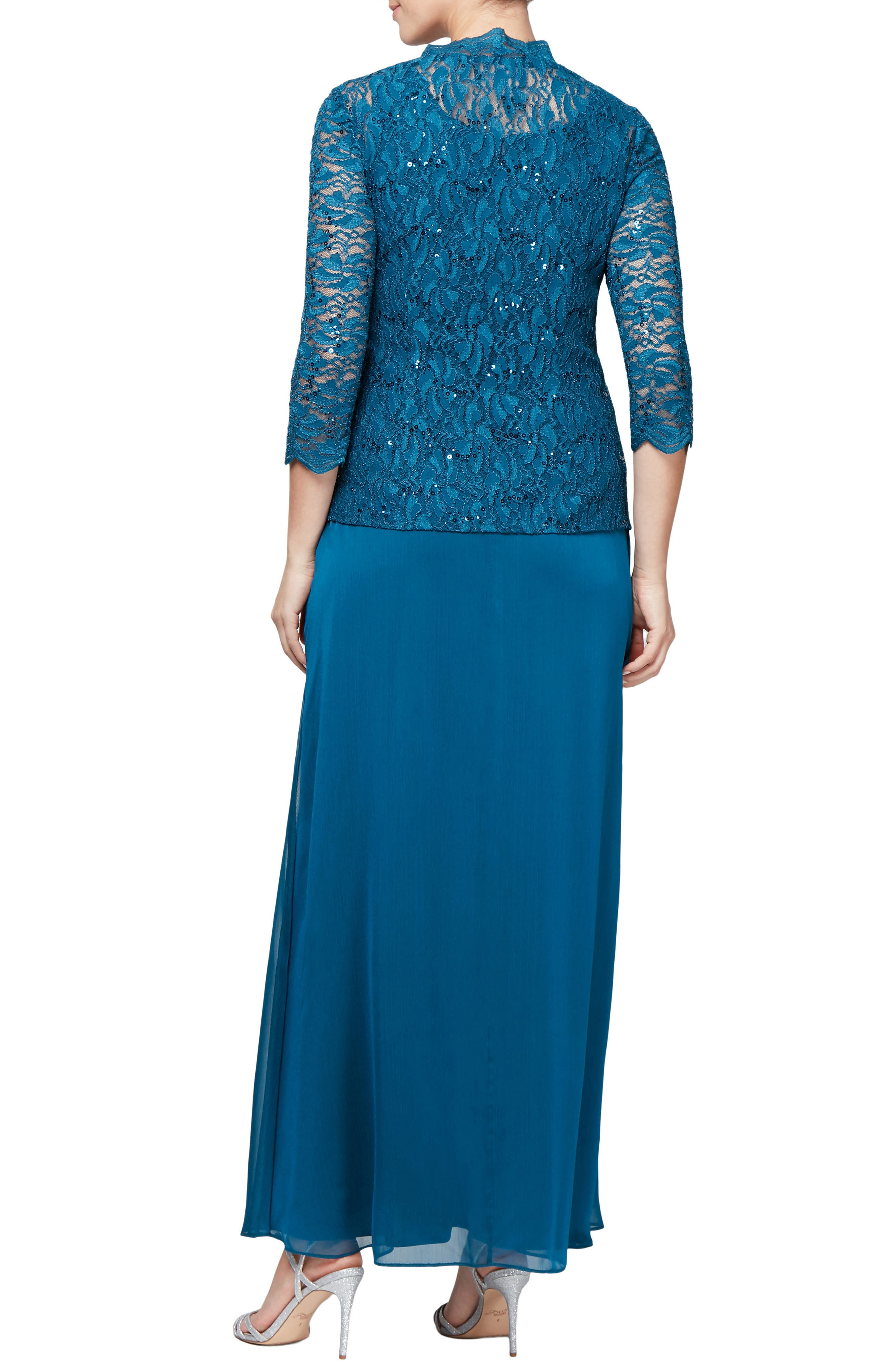 Sequin Lace & Chiffon Gown with Jacket,                             Alternate thumbnail 2, color,                             PEACOCK