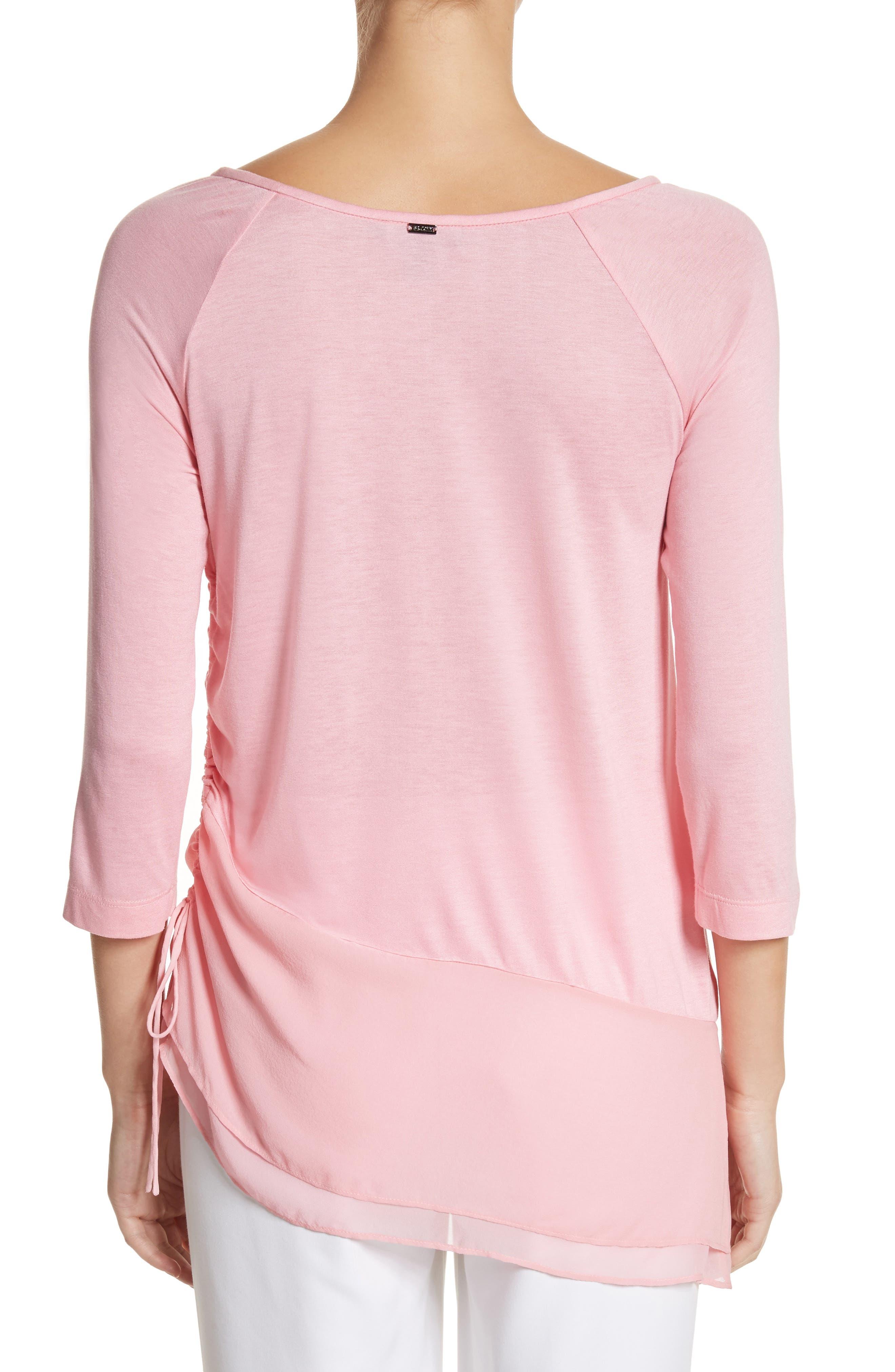Silk Georgette & Jersey Asymmetrical Blouse,                             Alternate thumbnail 2, color,                             660