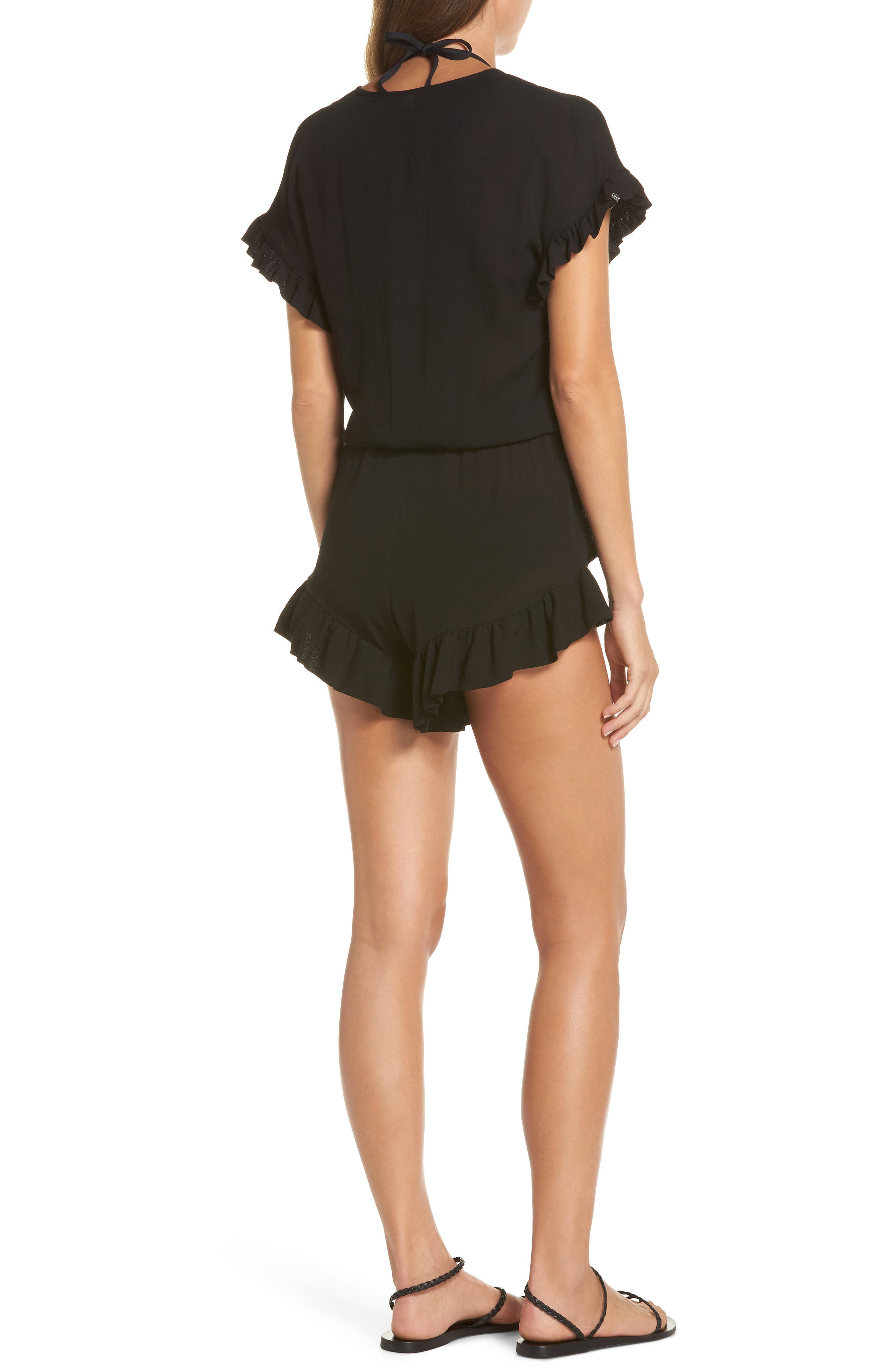 Ruffle Sleeve Cover-Up Romper,                             Alternate thumbnail 2, color,                             BLACK