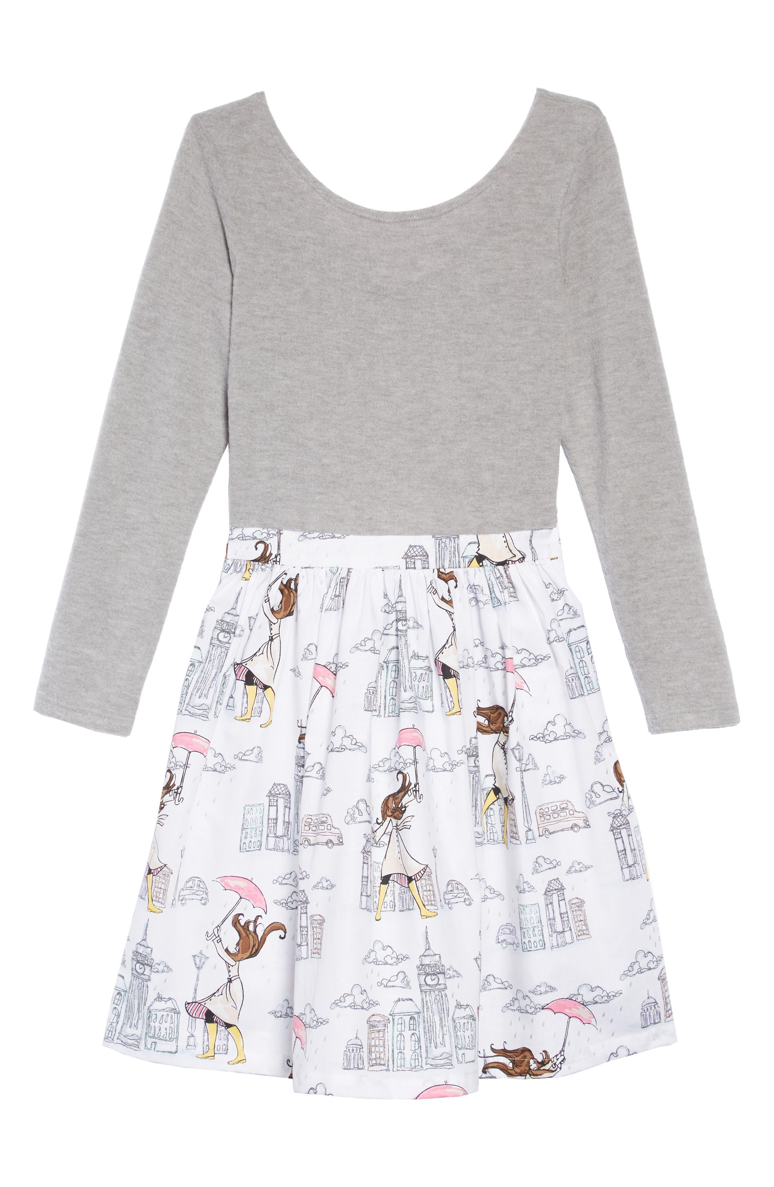 Print Fit & Flare Dress,                         Main,                         color, GREY