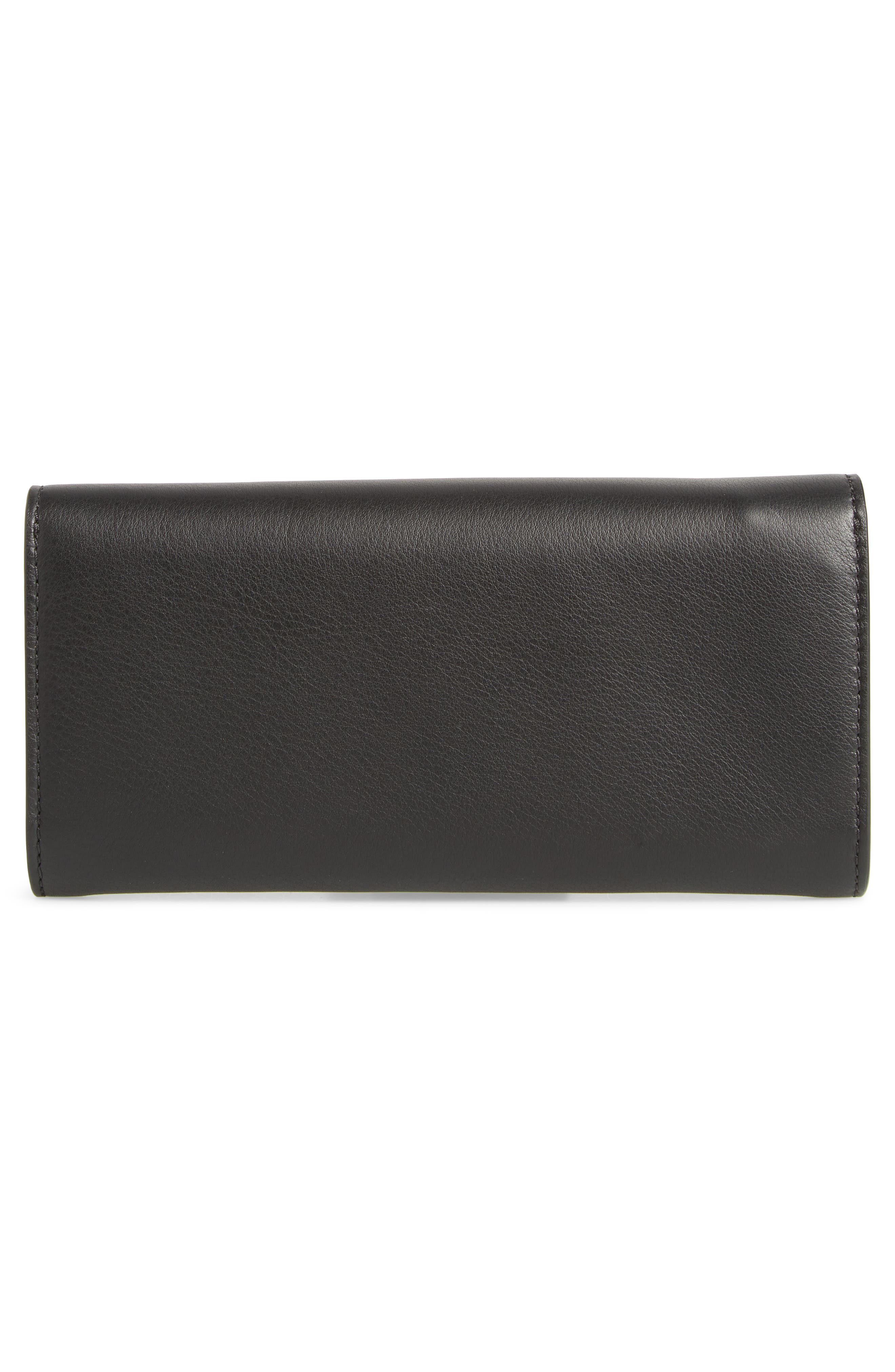 Crest Embossed Leather Clutch,                             Alternate thumbnail 3, color,                             BLACK