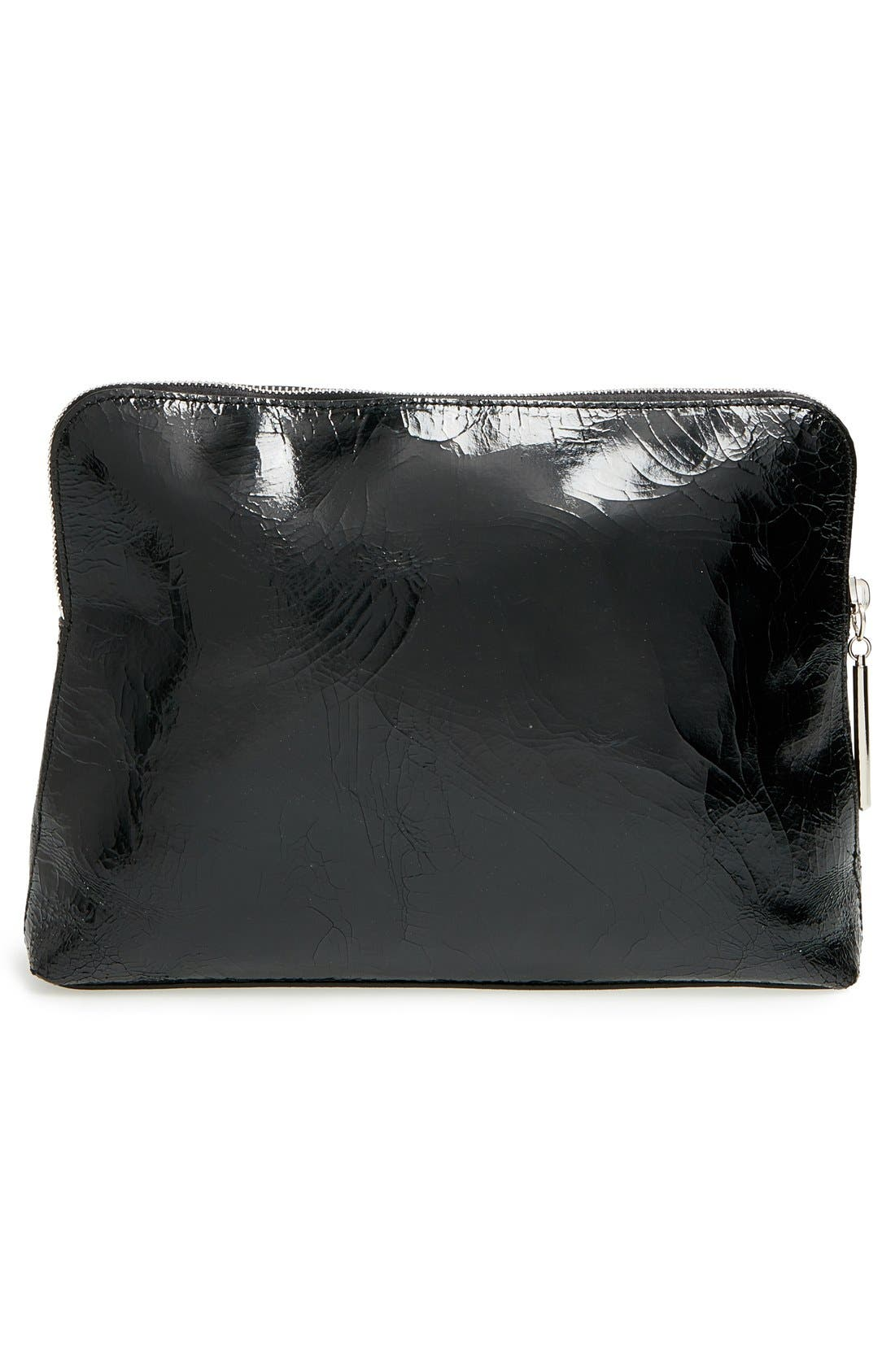 'Medium 31 Minute' Metallic Leather Pouch,                             Alternate thumbnail 4, color,                             400