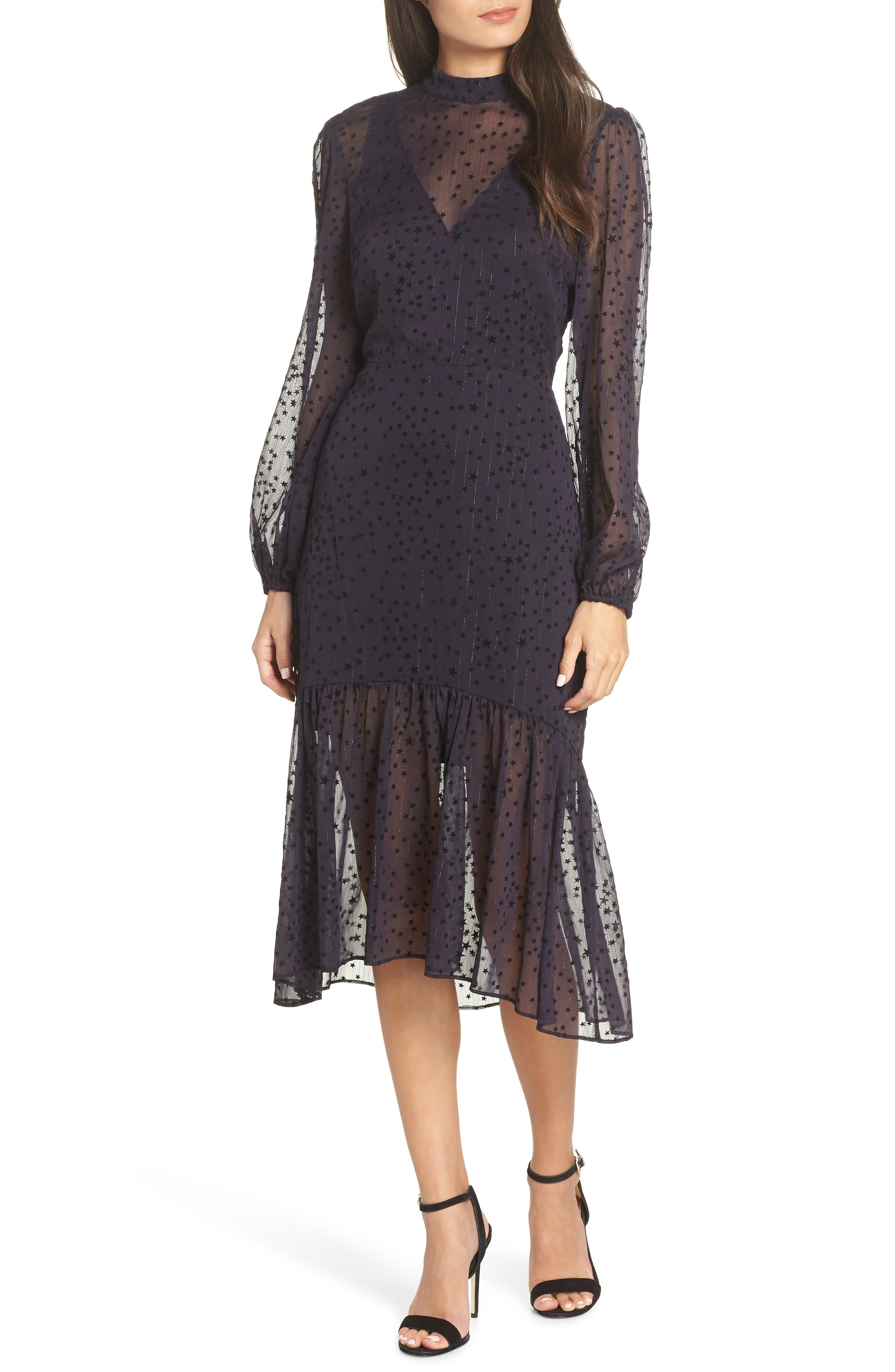 AVEC LES FILLES Flocked Star Ruffle Dress, Main, color, NAVY/ BLACK