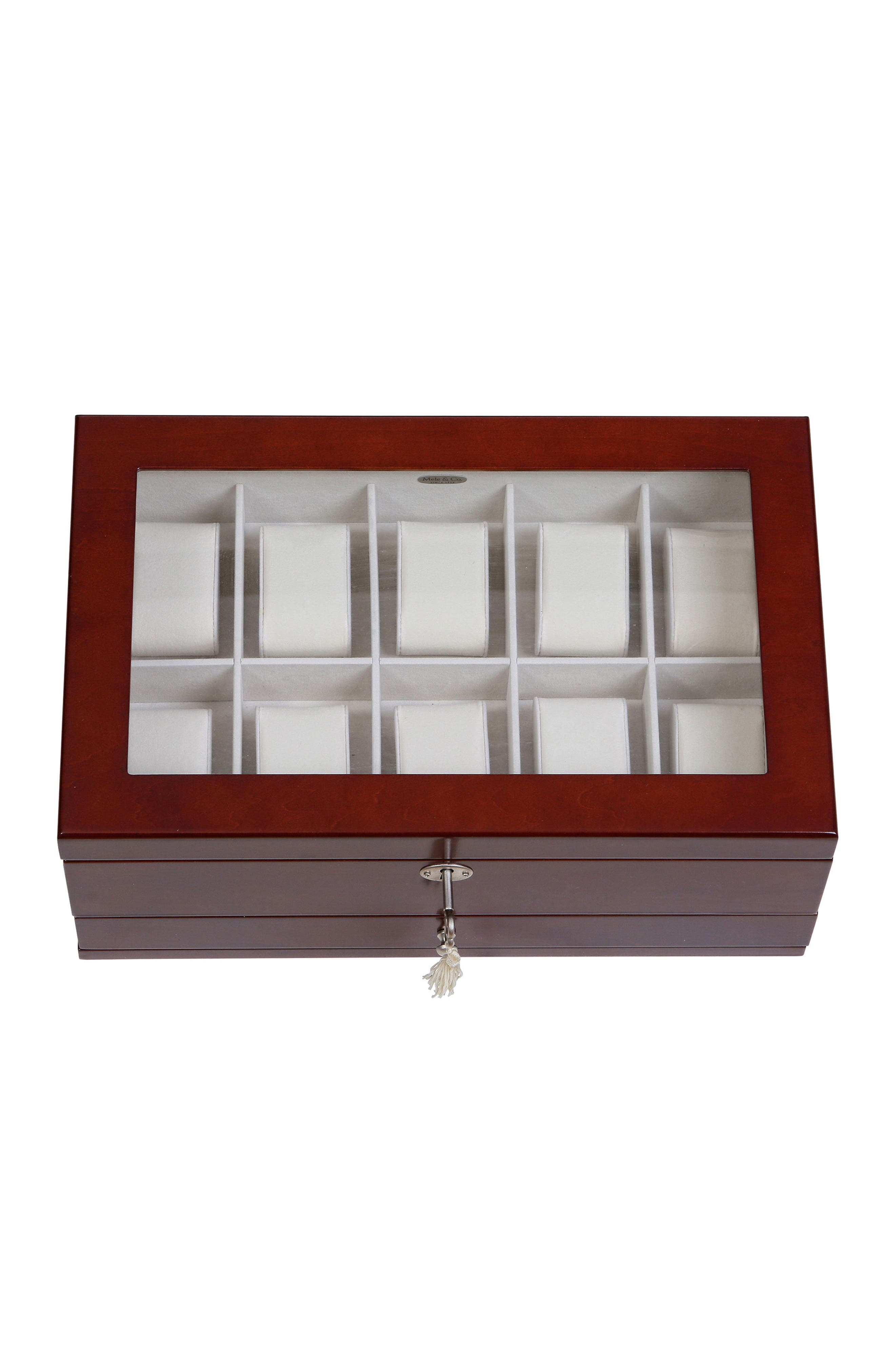 Christo Locking Watch & Jewelry Box,                             Alternate thumbnail 4, color,                             BROWN