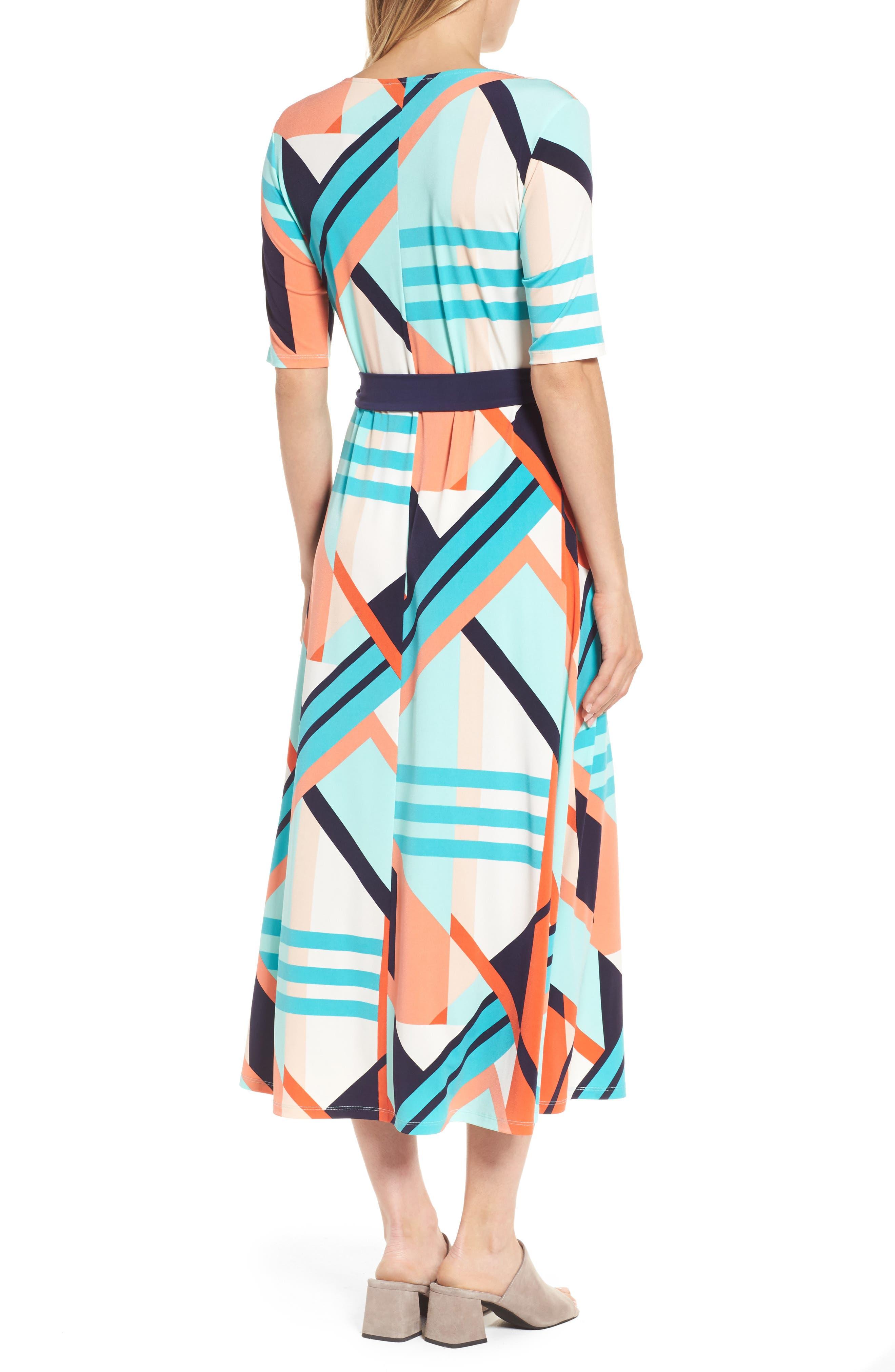 Belted Geo Print Midi Dress,                             Alternate thumbnail 2, color,