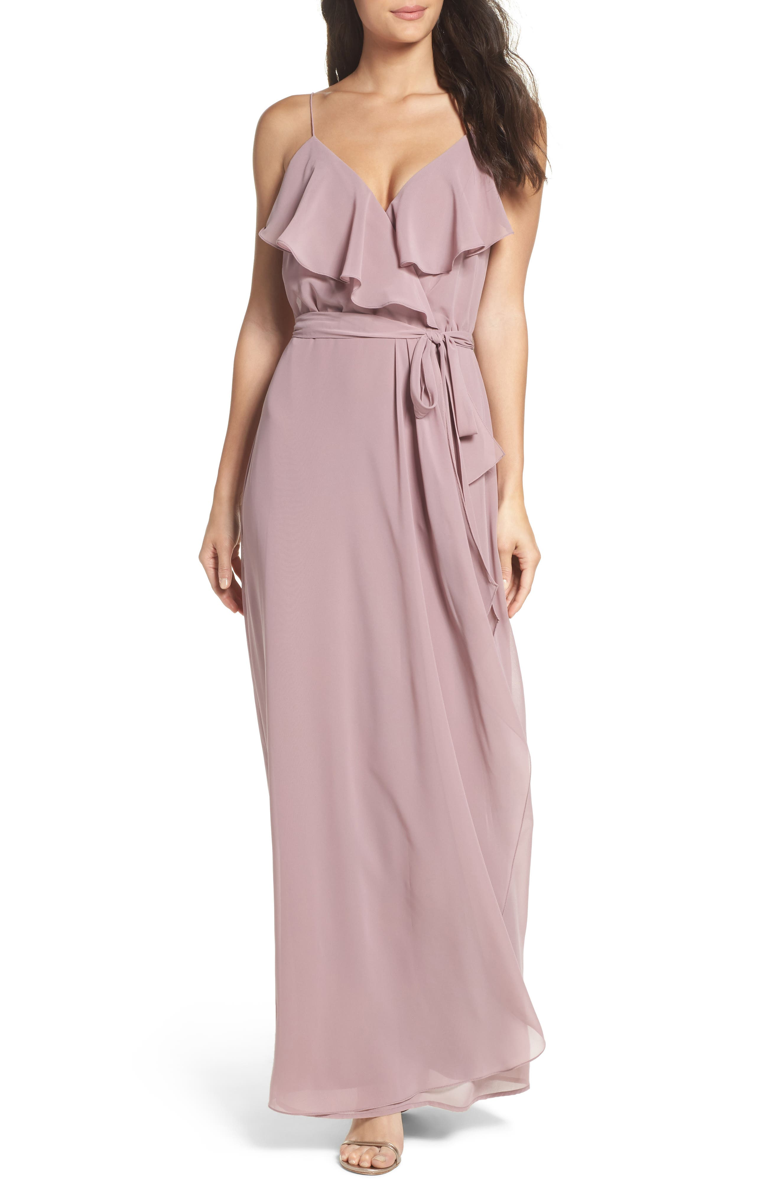 'Drew' Ruffle Front Chiffon Gown,                             Main thumbnail 3, color,