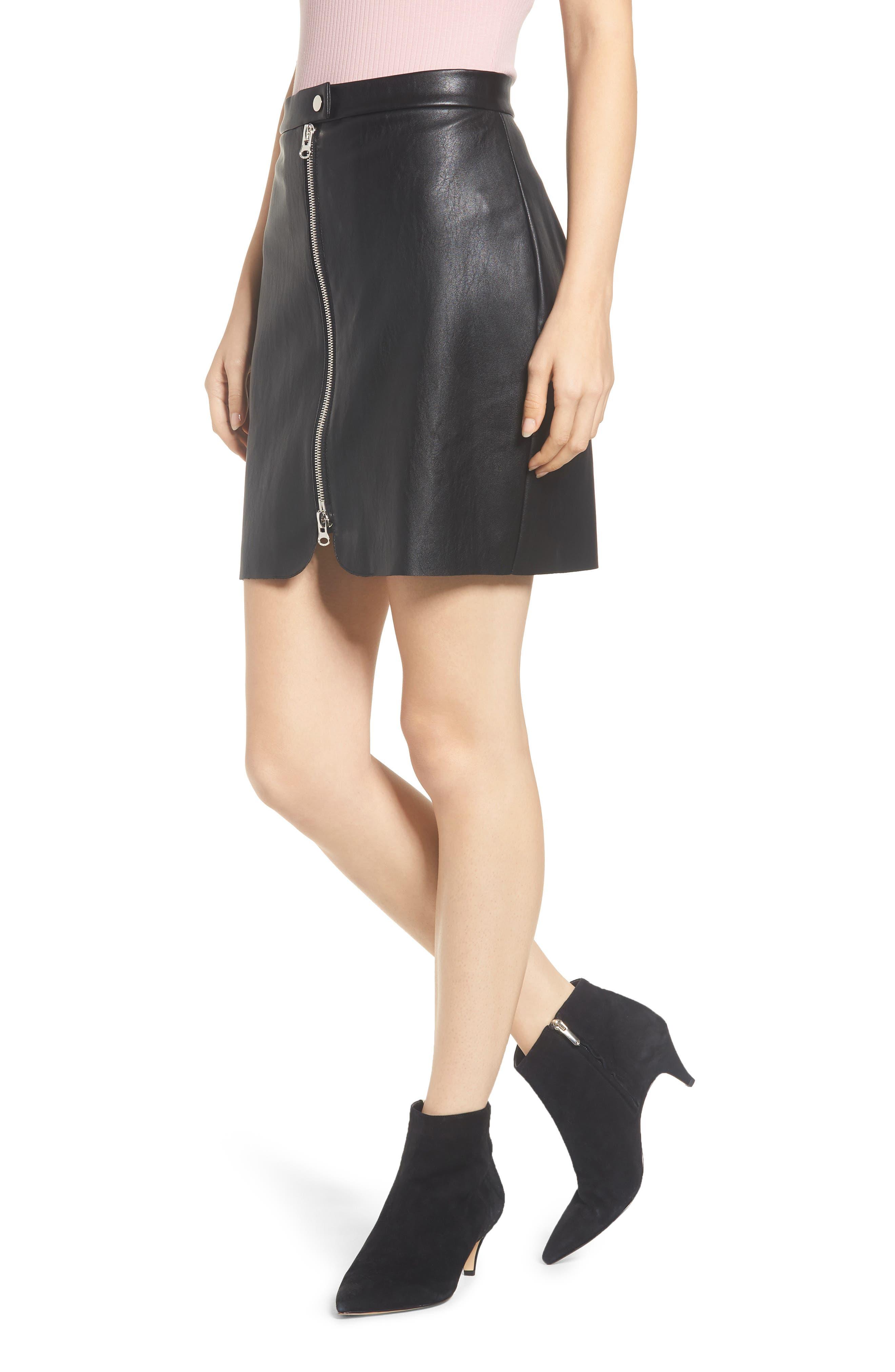 Exposed Zip Miniskirt,                             Main thumbnail 1, color,                             001