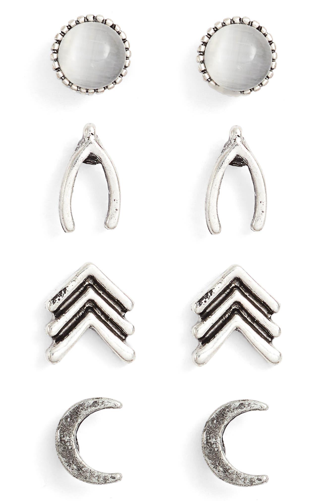 Set of 4 Stud Earrings,                             Main thumbnail 1, color,                             040