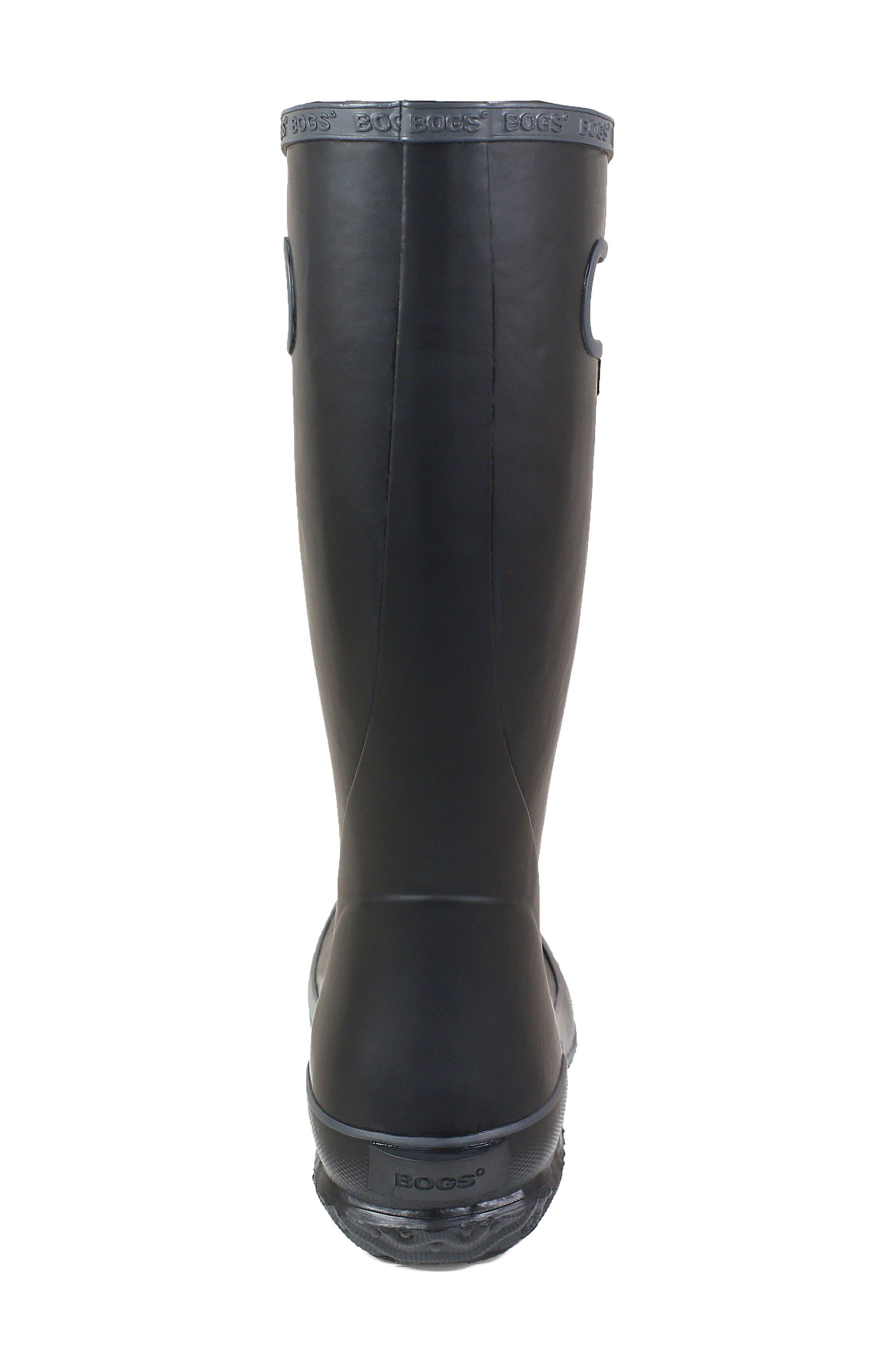 Classic Tall Waterproof Rain Boot,                             Alternate thumbnail 7, color,                             BLACK RUBBER