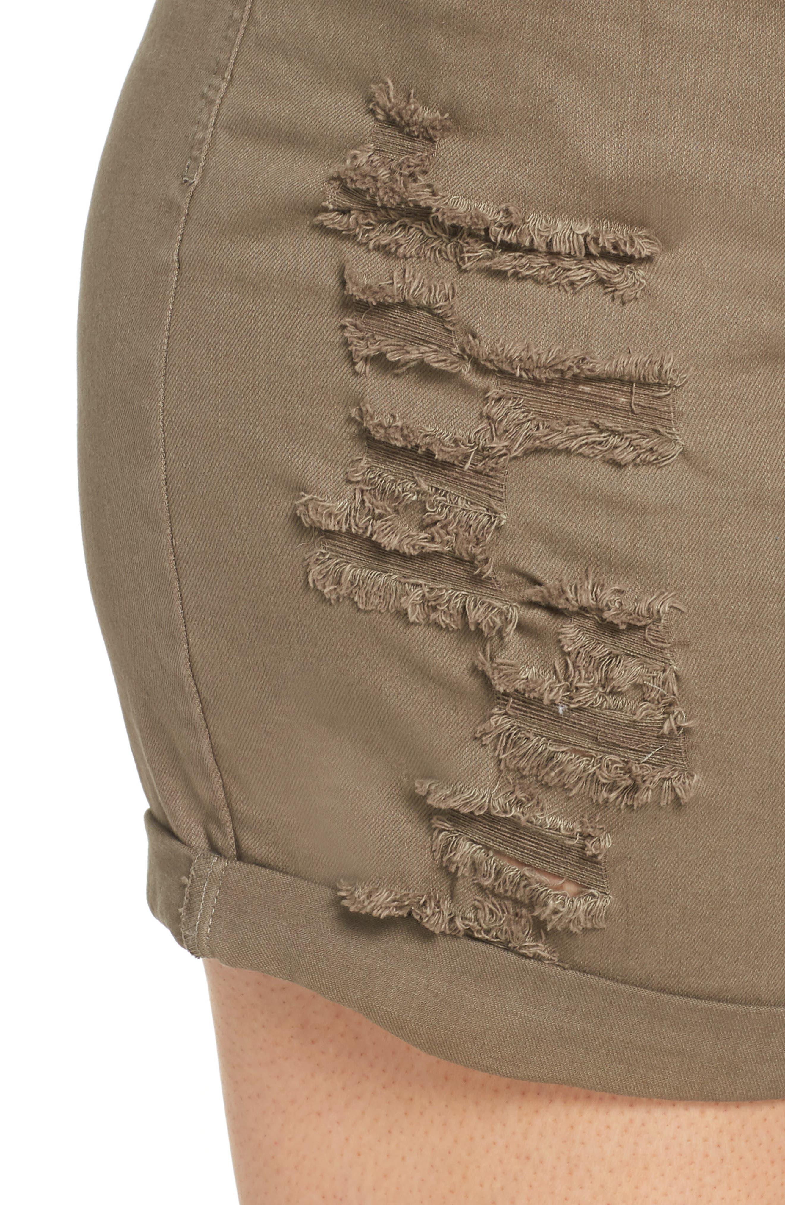 Ripped Bermuda Shorts,                             Alternate thumbnail 4, color,                             OLIVE