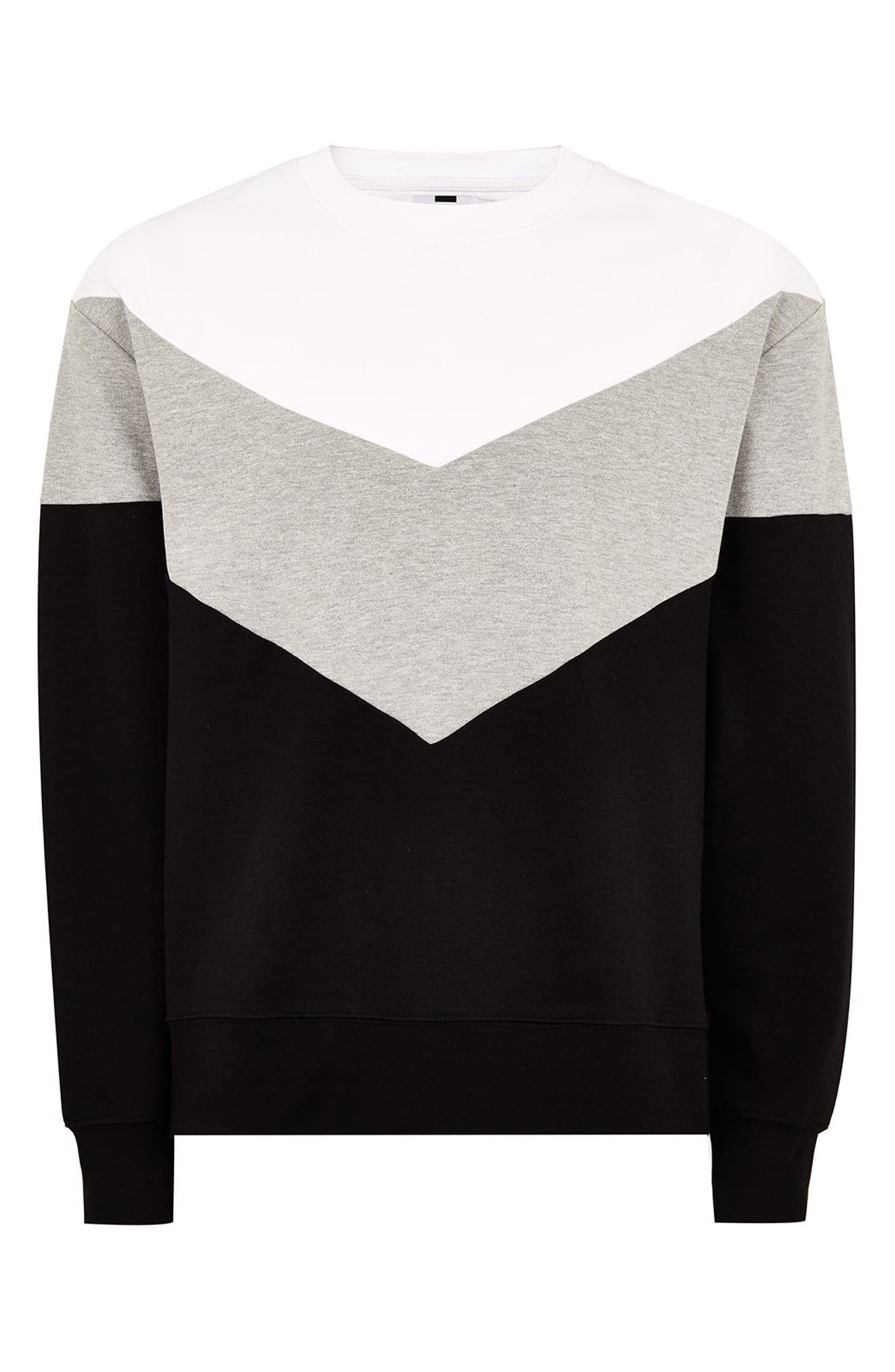 Chevron Colorblock Sweatshirt,                             Alternate thumbnail 4, color,                             BLACK MULTI