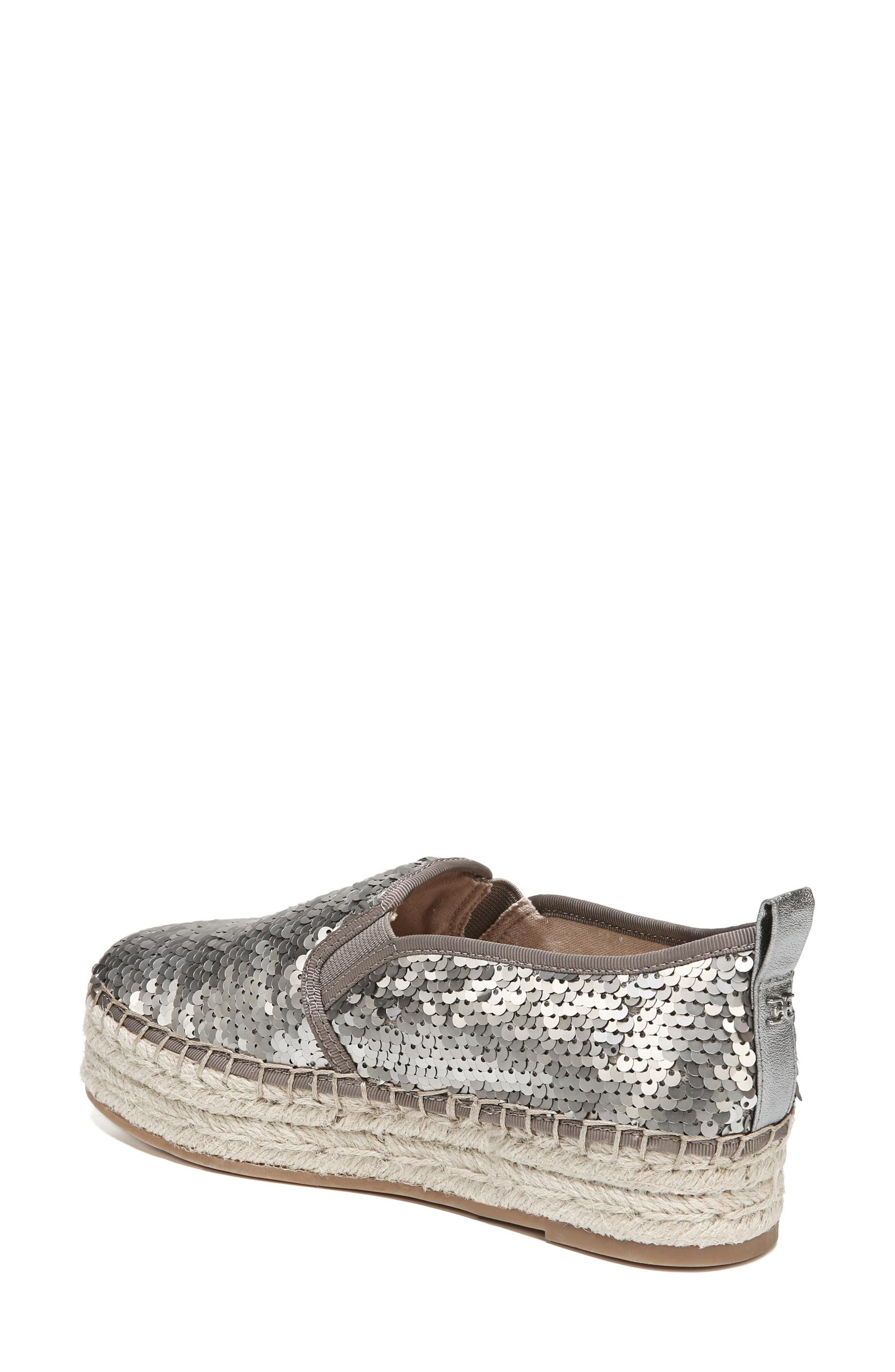 'Carrin' Espadrille Flat,                             Alternate thumbnail 2, color,                             PEWTER SEQUINS