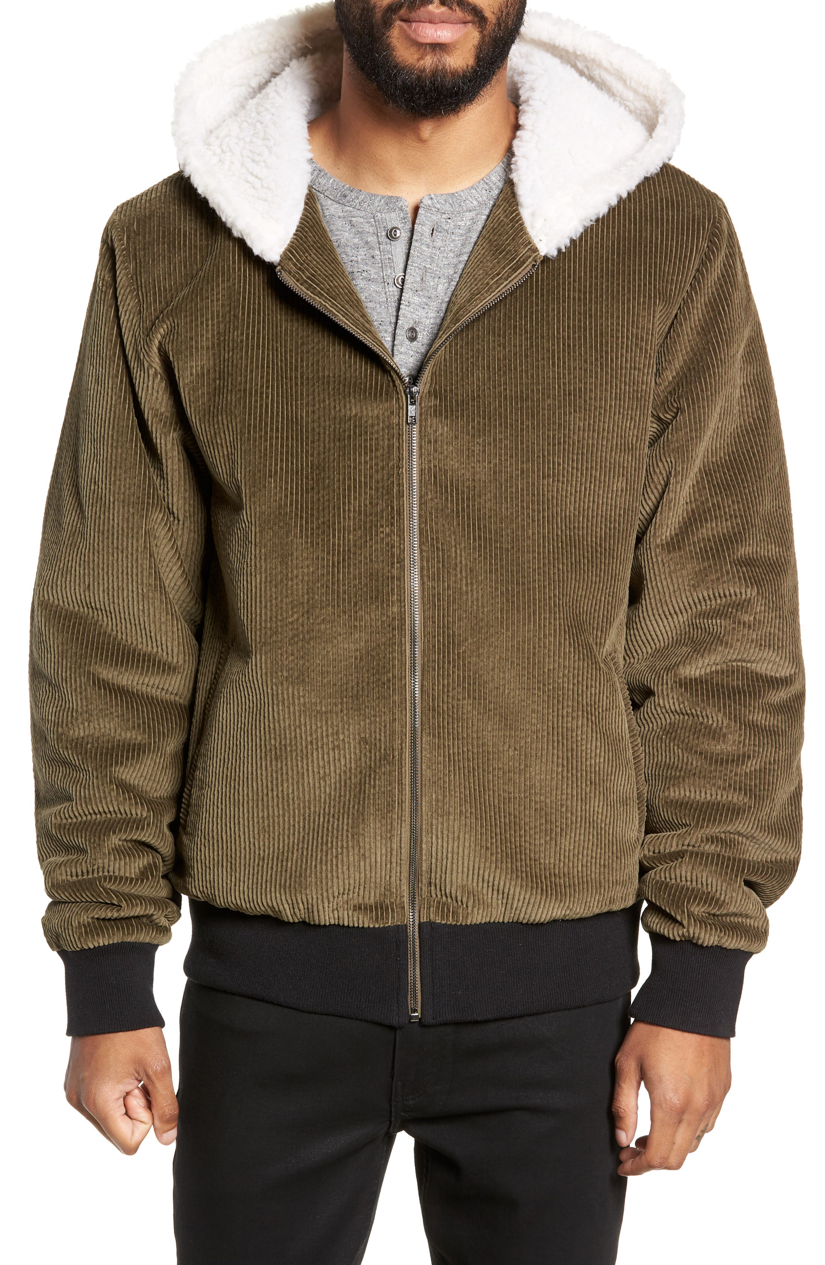 Champlain Cotton Corduroy & Faux Shearling Hooded Bomber Jacket,                         Main,                         color, ARMY