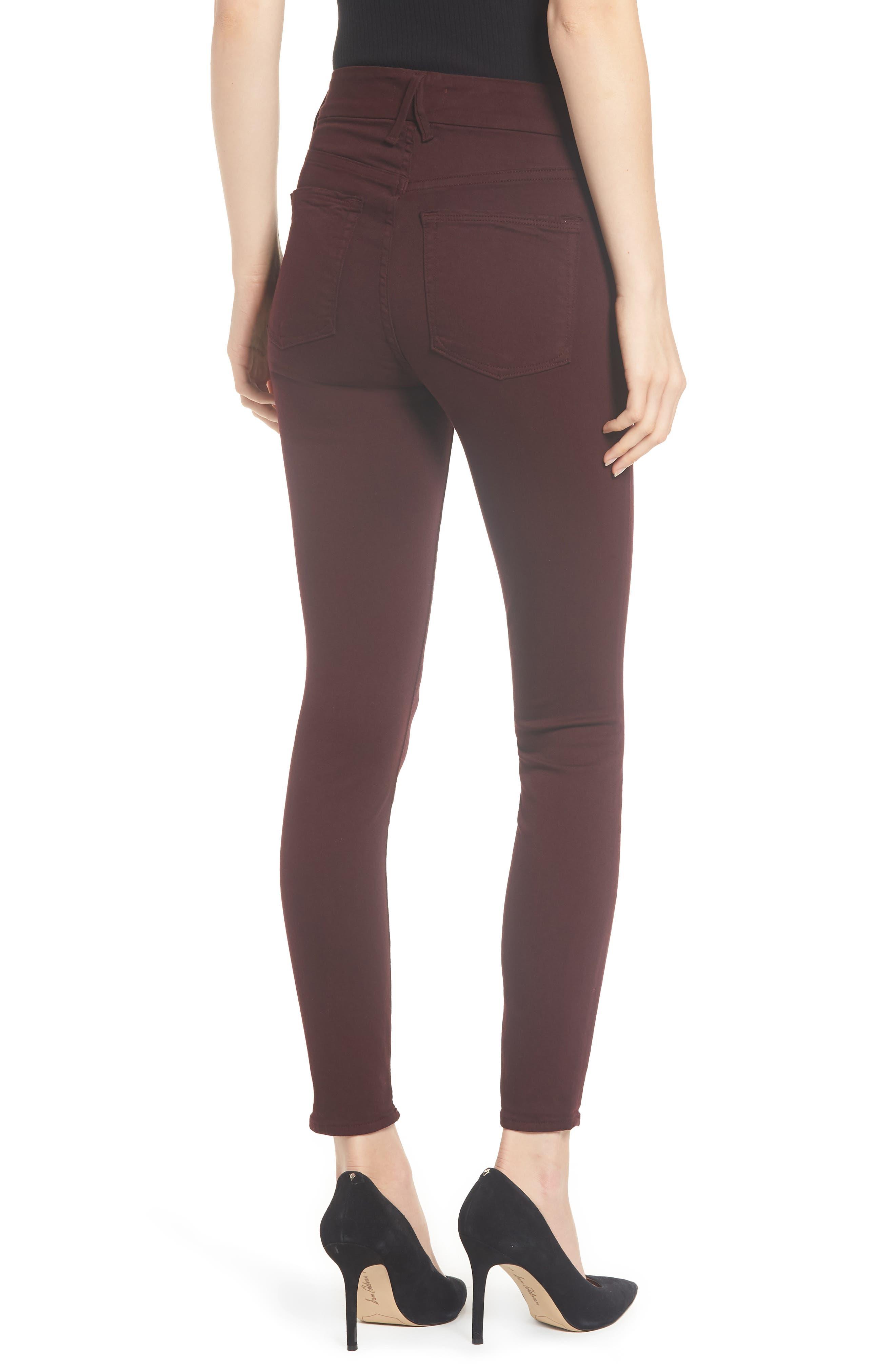 Good Legs High Waist Ankle Skinny Jeans,                             Alternate thumbnail 3, color,                             BURGUNDY 001