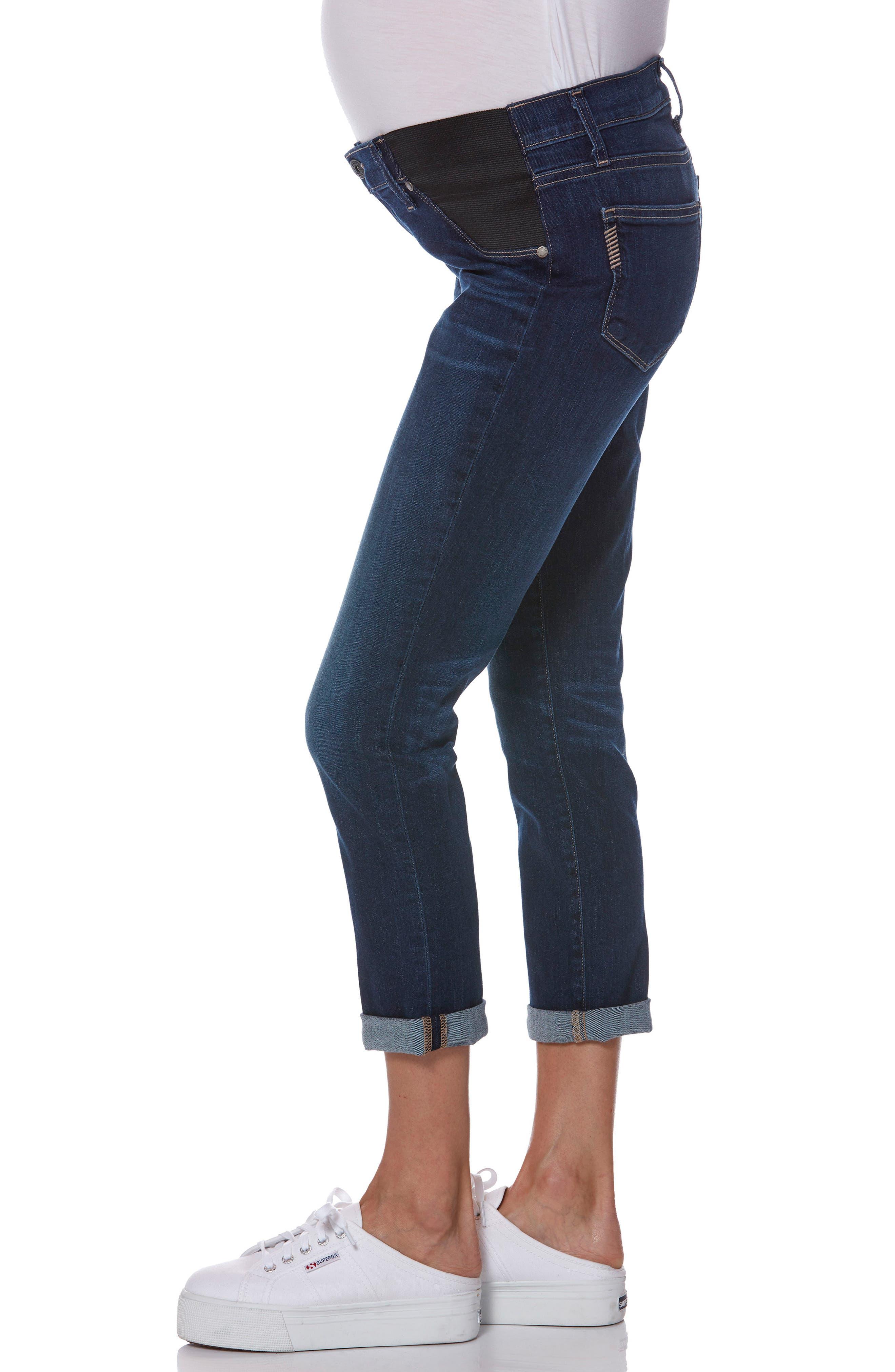 Transcend Vintage - Brigitte Crop Maternity Boyfriend Jeans,                             Alternate thumbnail 3, color,                             ENCHANT
