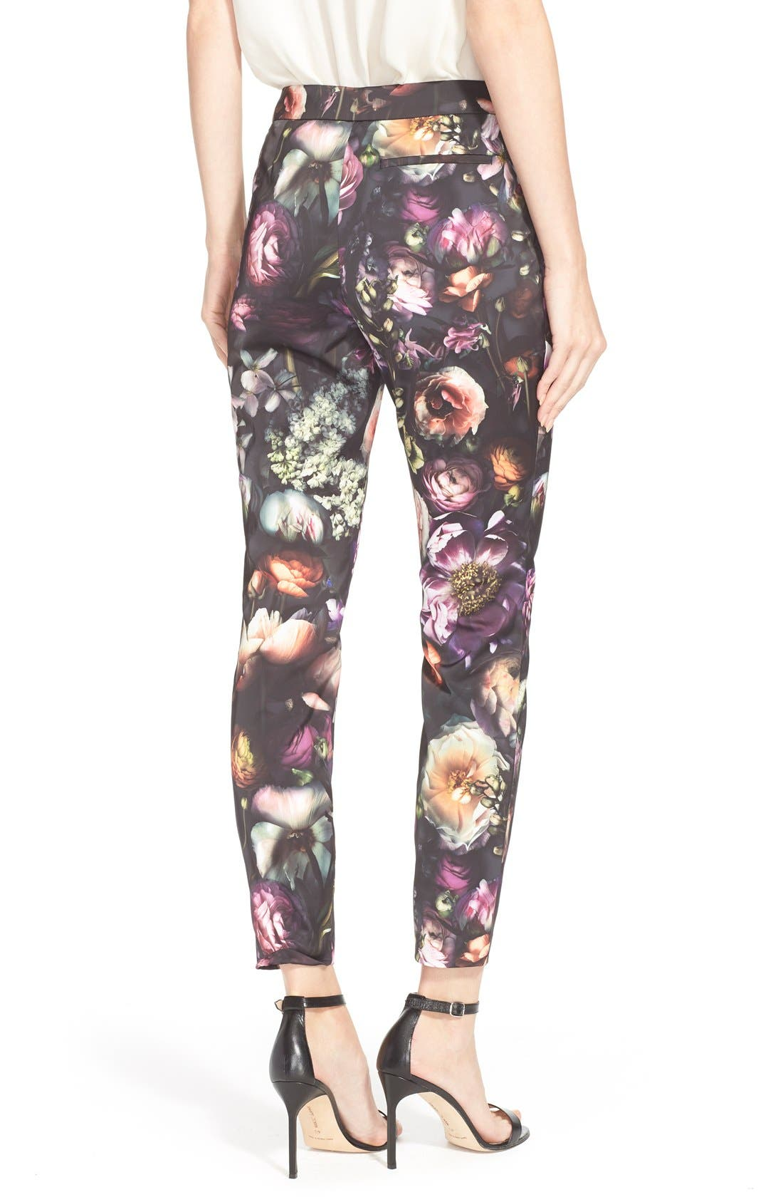 TED BAKER LONDON,                             'Anuja' Floral Print Trousers,                             Alternate thumbnail 4, color,                             021