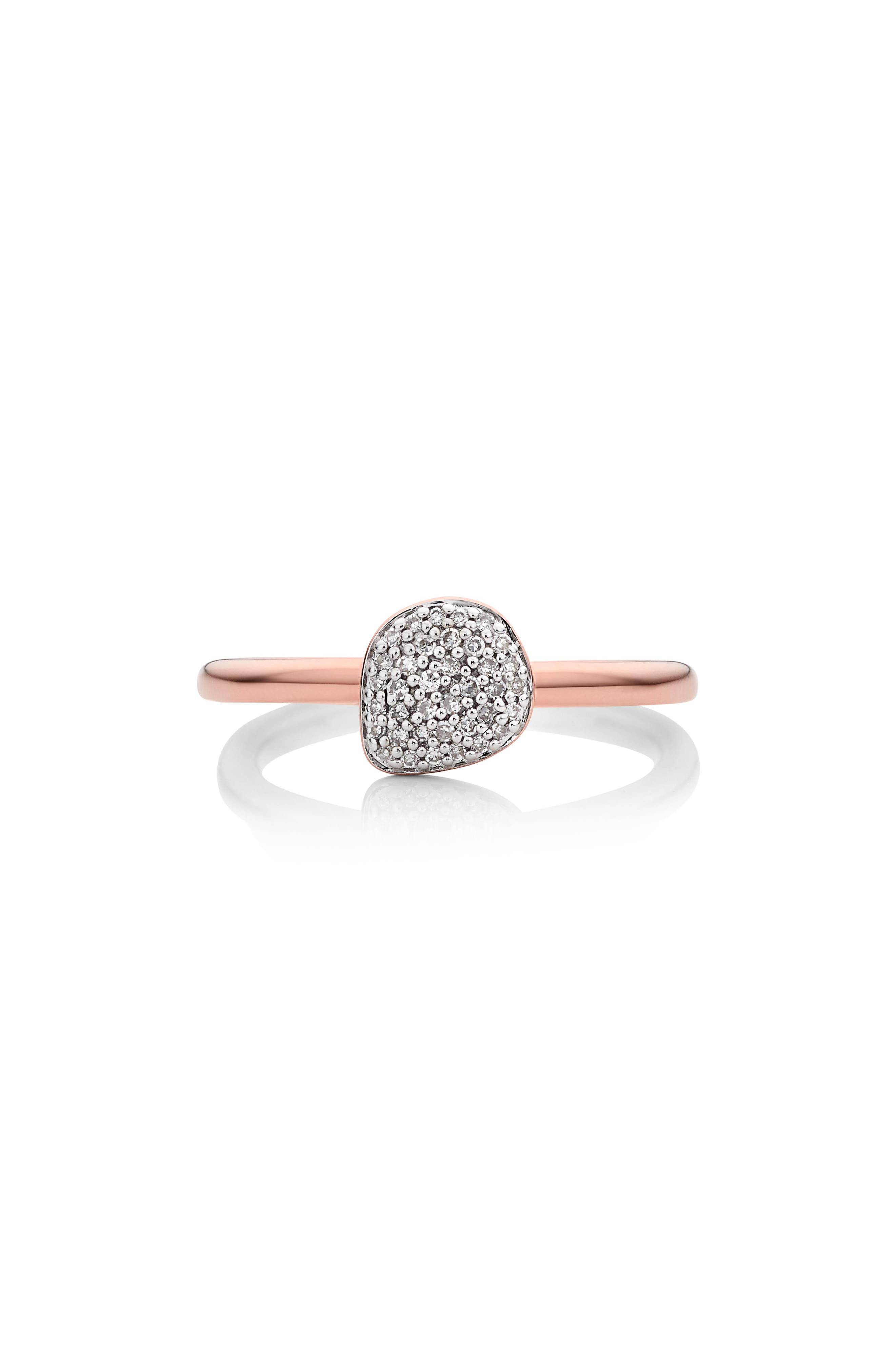 Nura Mini Diamond Pavé Pebble Stacking Ring,                             Main thumbnail 1, color,                             ROSE GOLD/ DIAMOND