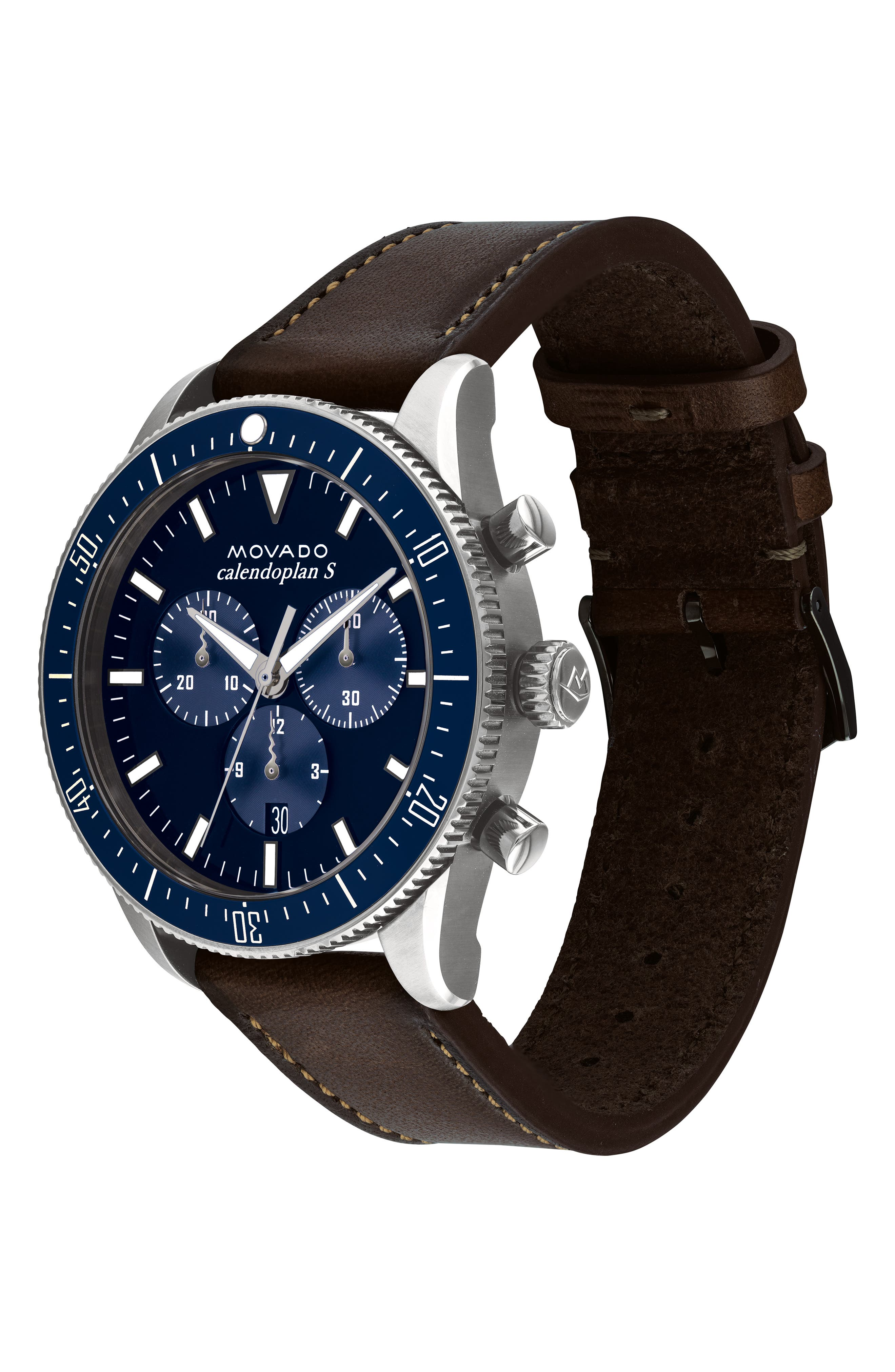 Heritage Chrono Leather Strap Watch, 42mm,                             Alternate thumbnail 3, color,                             COGNAC/ BLUE/ SILVER