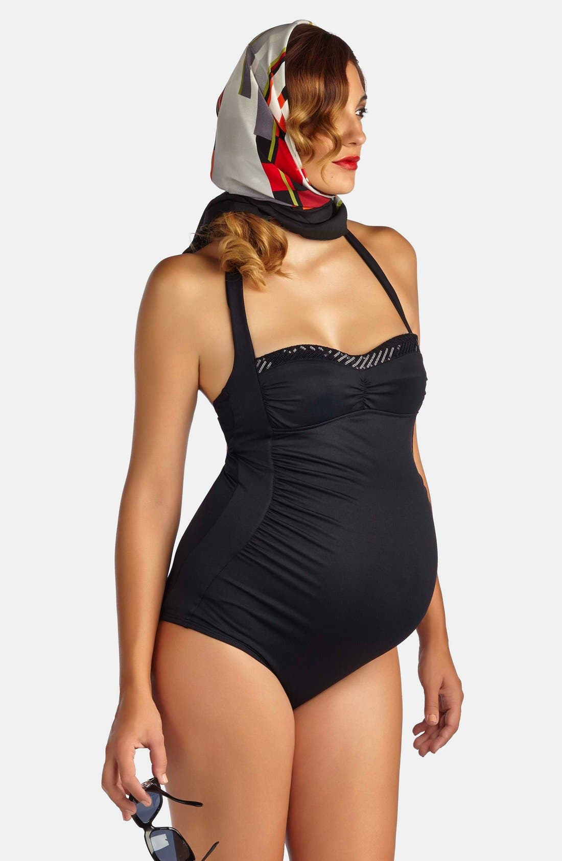 'Retro' Ruched One-Piece Maternity Swimsuit,                             Main thumbnail 1, color,                             BLACK