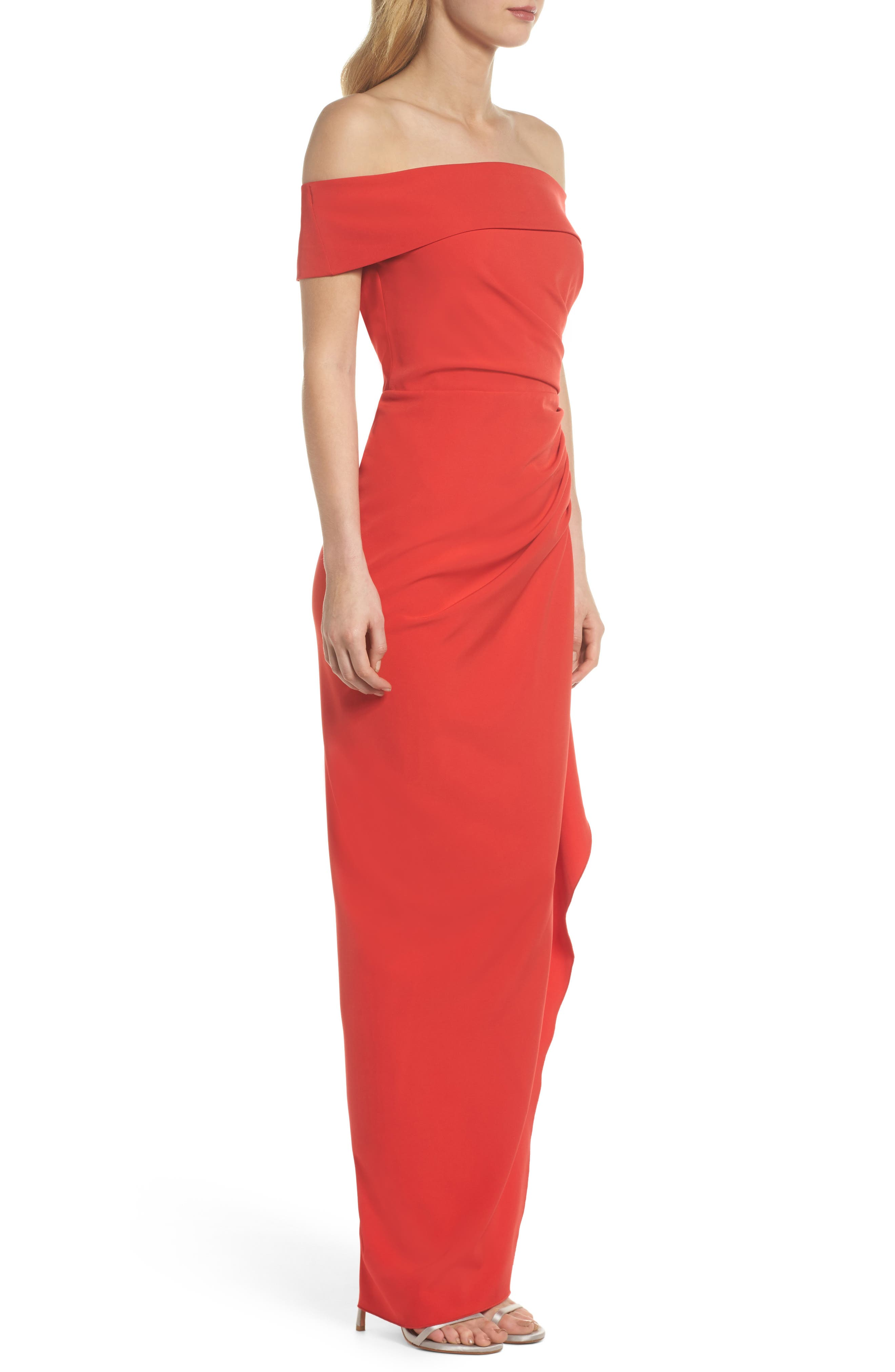 Off the Shoulder Crepe Gown,                             Alternate thumbnail 12, color,