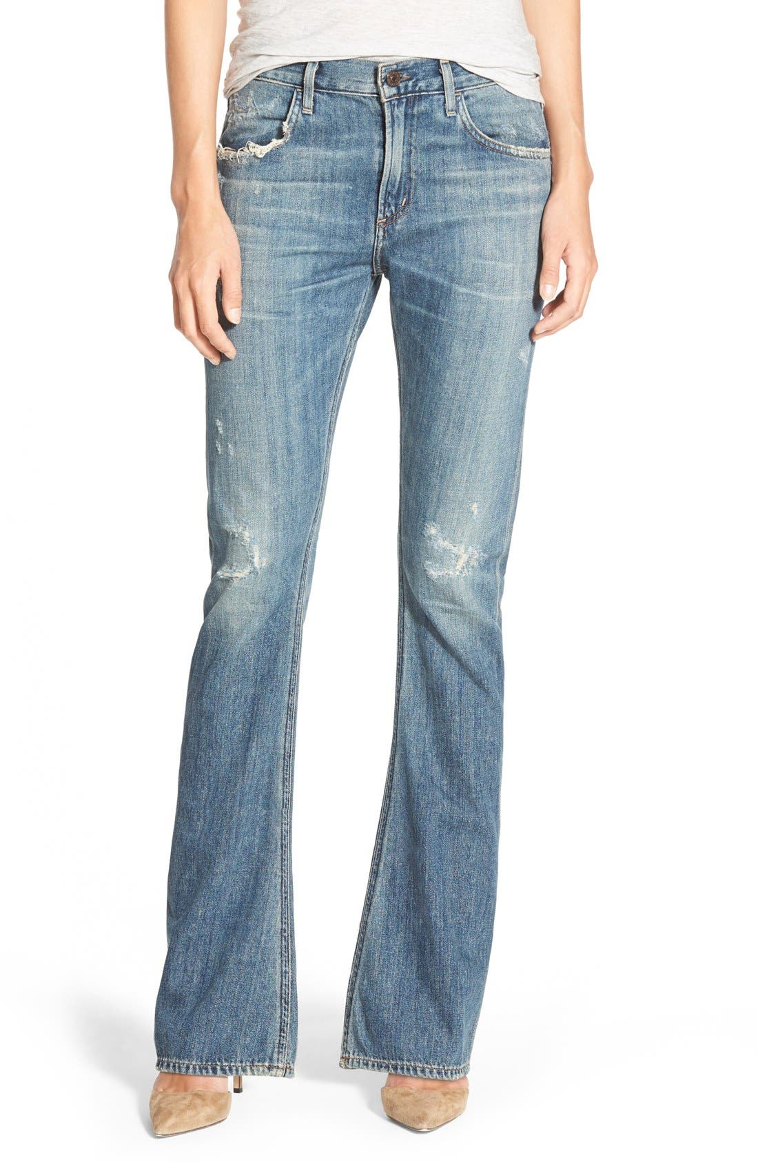 'Sasha' Destroyed Flare Jeans,                         Main,                         color, 400
