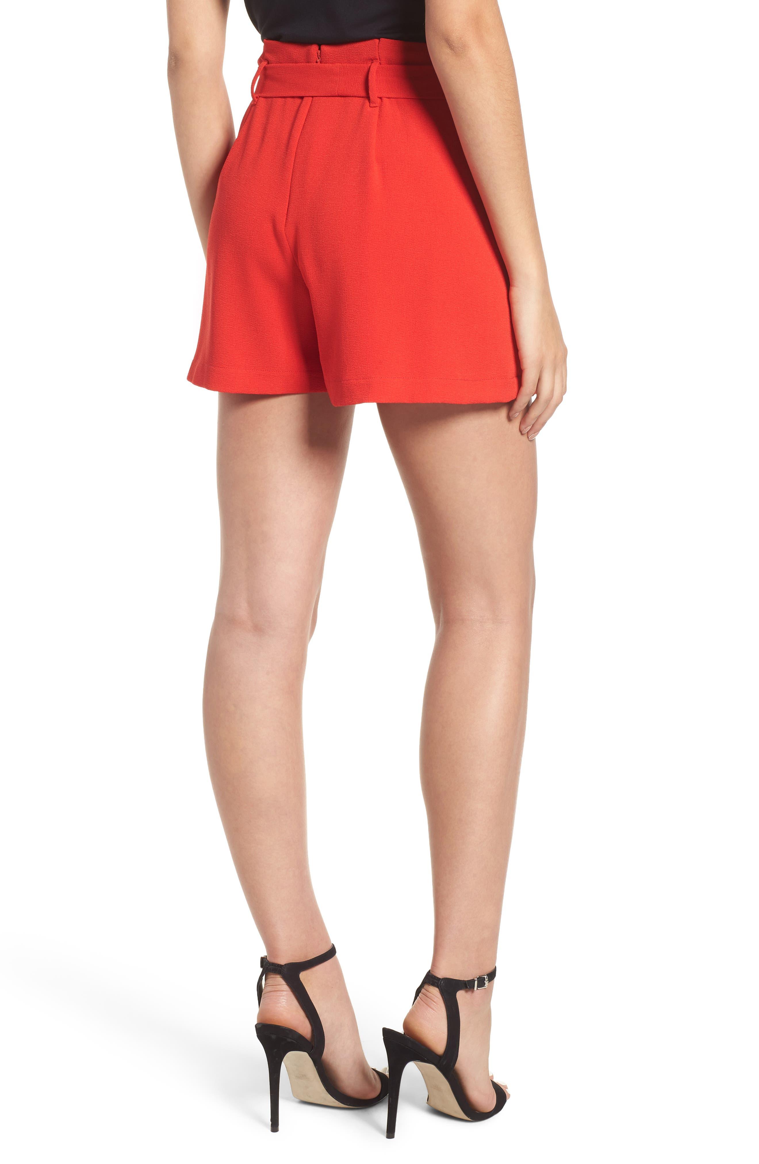 Tie Waist Shorts,                             Alternate thumbnail 2, color,                             RED LIPSTICK