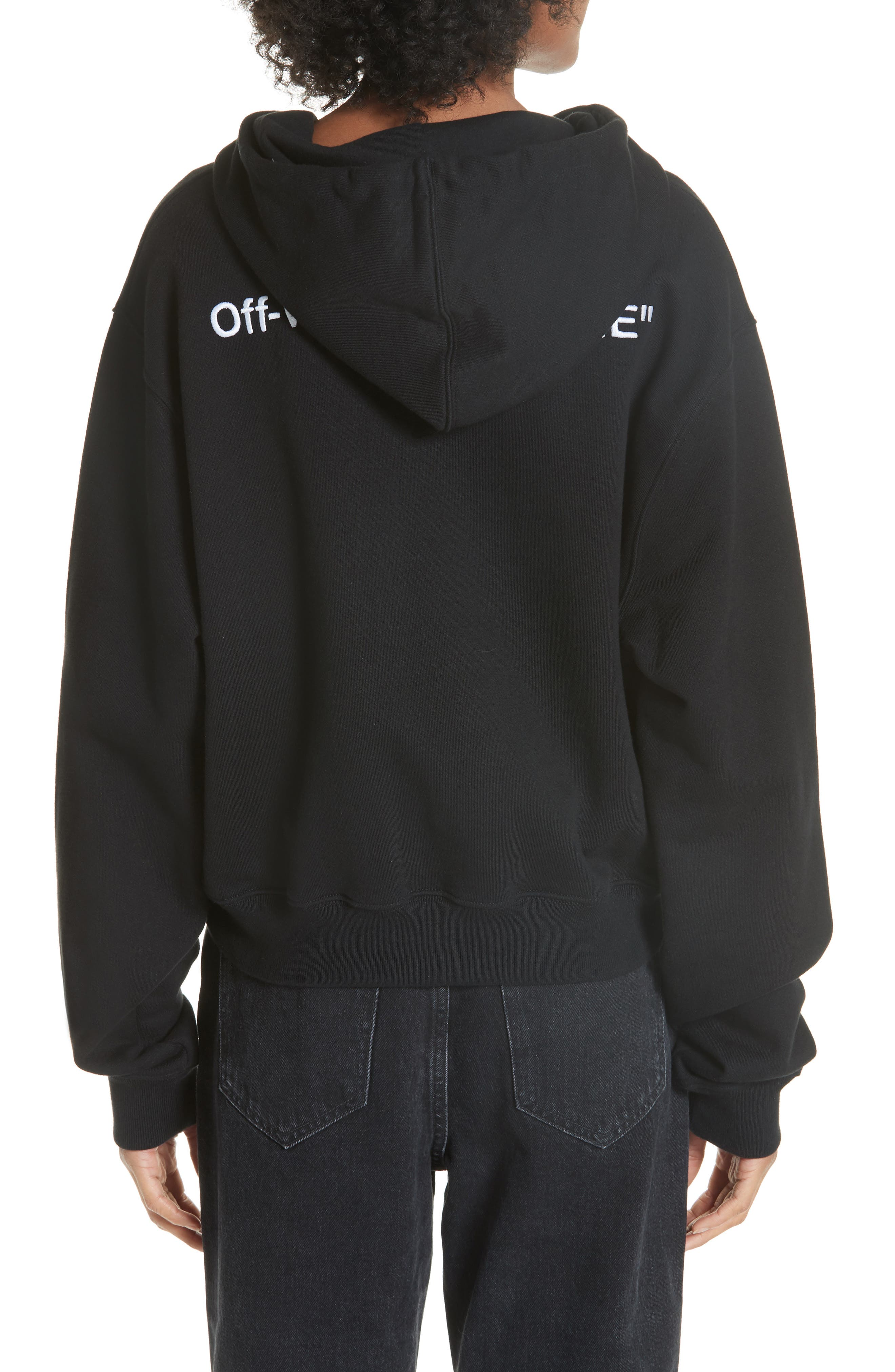 Quotes Crop Hoodie,                             Alternate thumbnail 2, color,                             BLACK WHITE